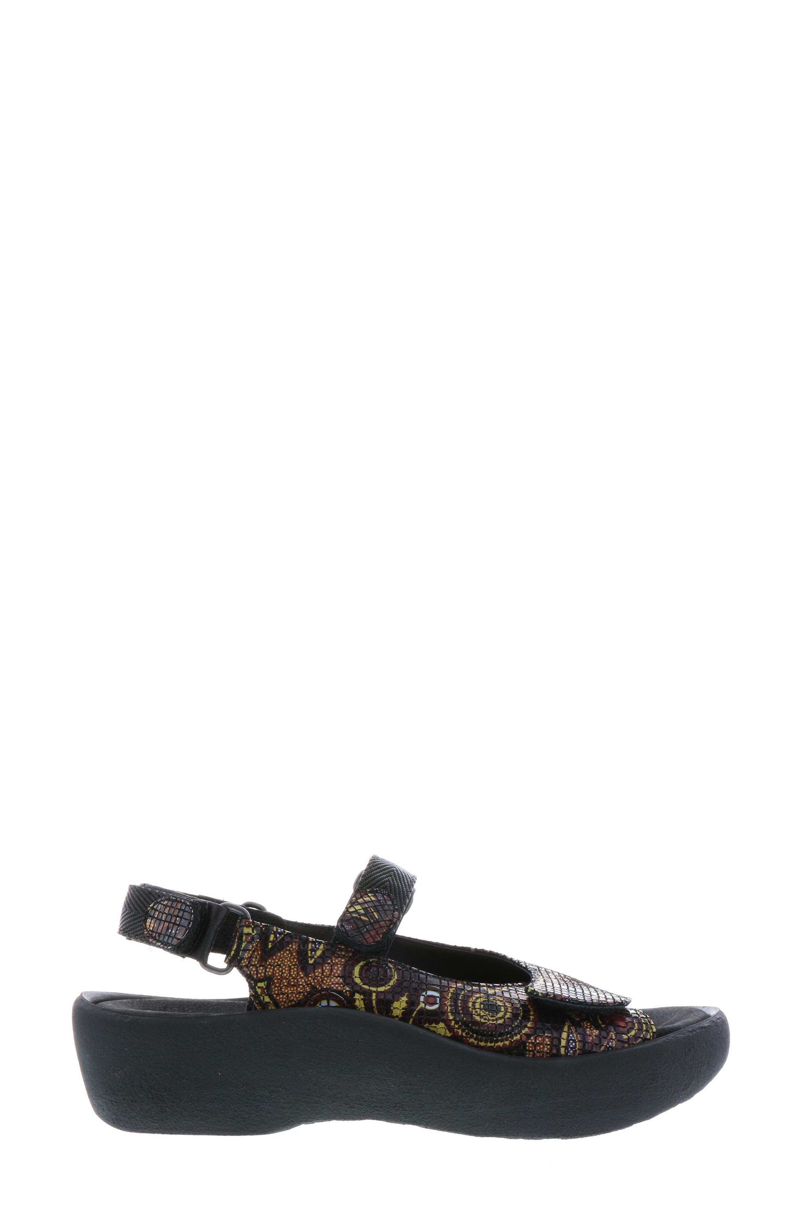 Jewel Sport Sandal,                             Alternate thumbnail 3, color,                             Black Flower Print