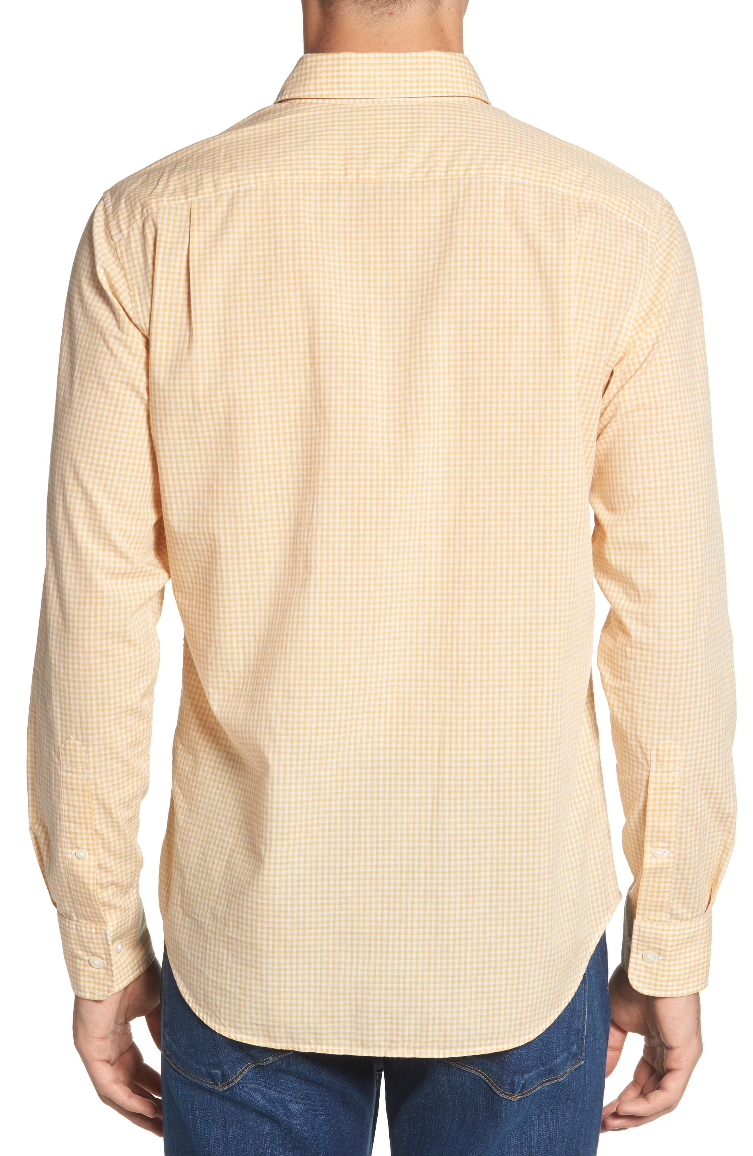 Summerweight Slim Fit Gingham Sport Shirt,                             Alternate thumbnail 4, color,                             Heathered - Heather Gold