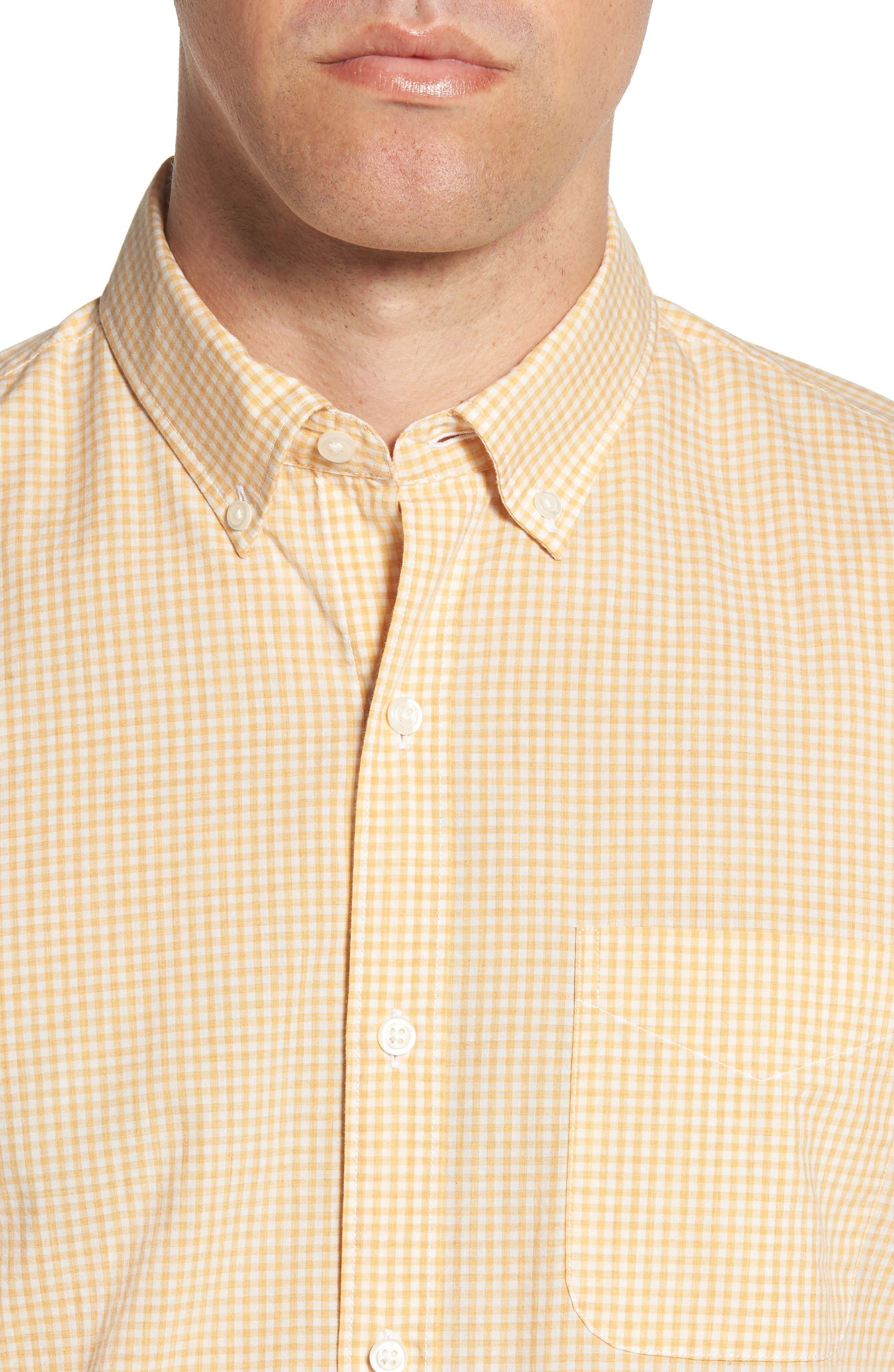 Summerweight Slim Fit Gingham Sport Shirt,                             Alternate thumbnail 2, color,                             Heathered - Heather Gold