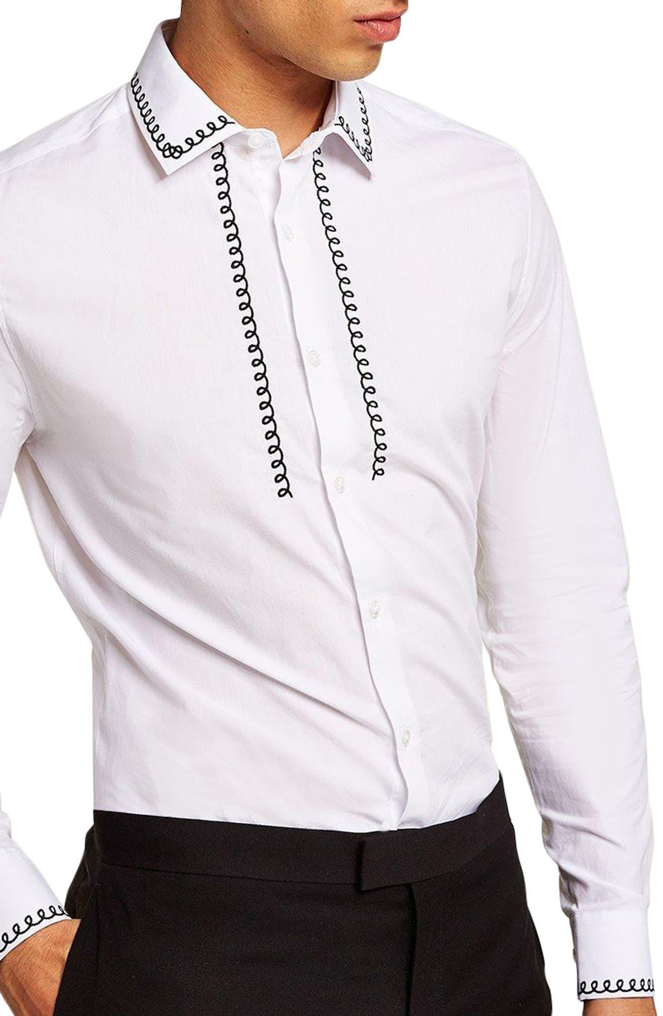 Phone Cable Dress Shirt,                             Main thumbnail 1, color,                             White Multi