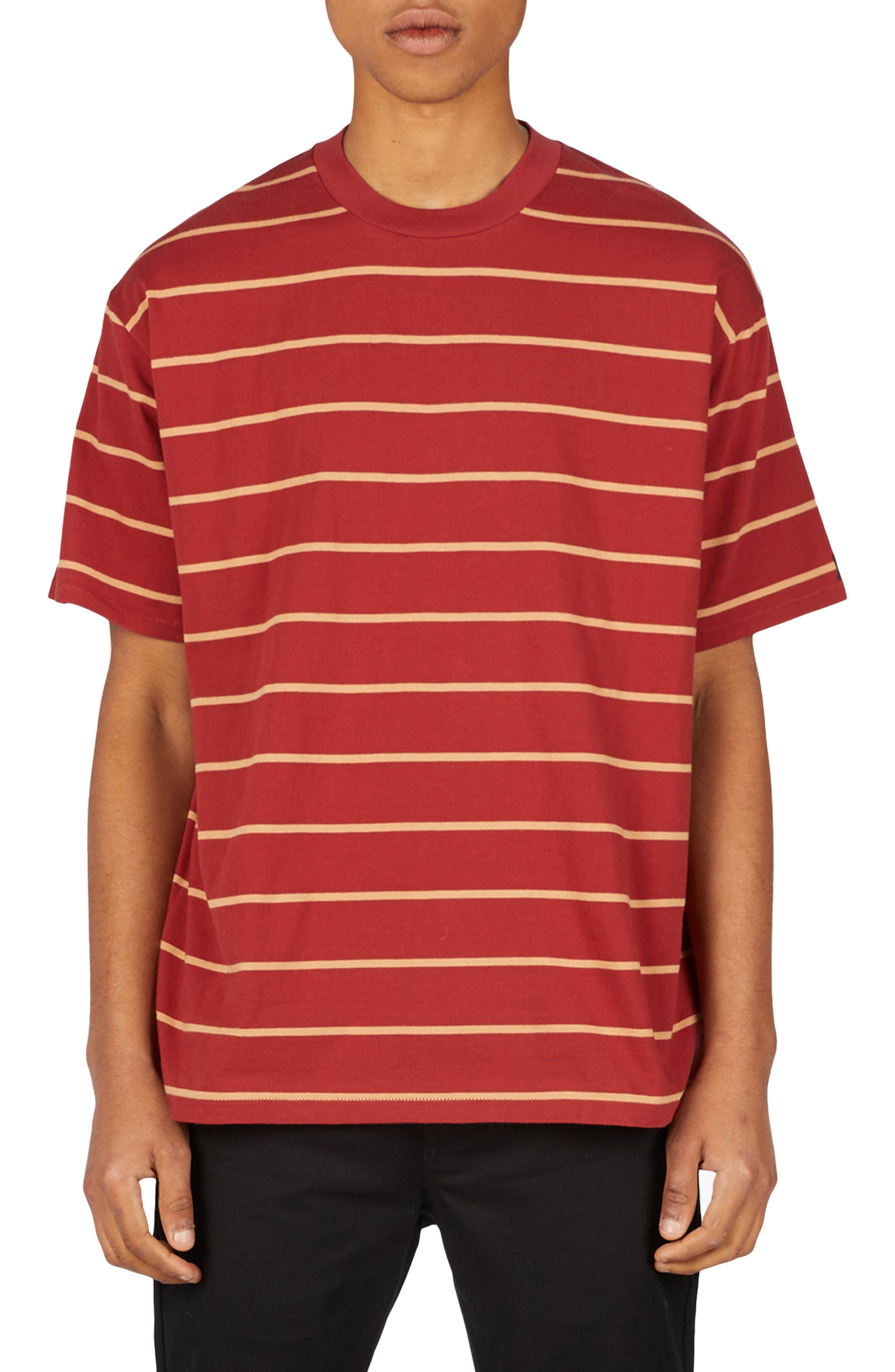 Stripe Box T-Shirt,                         Main,                         color, Dark Cherry/ Biscuit