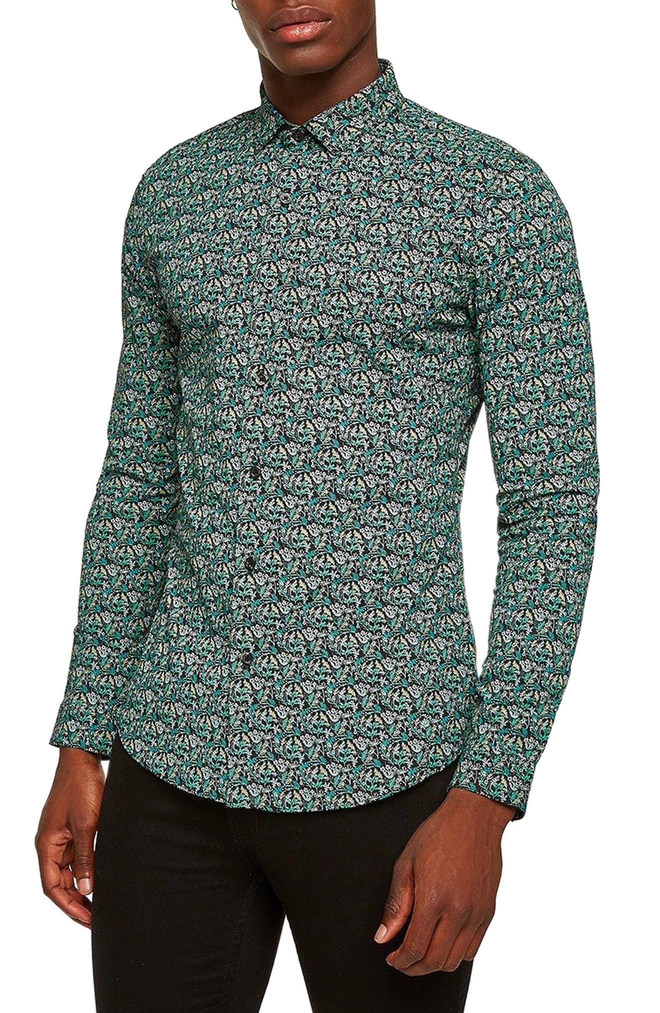 Topman Dark Garden Muscle Fit Sport Shirt