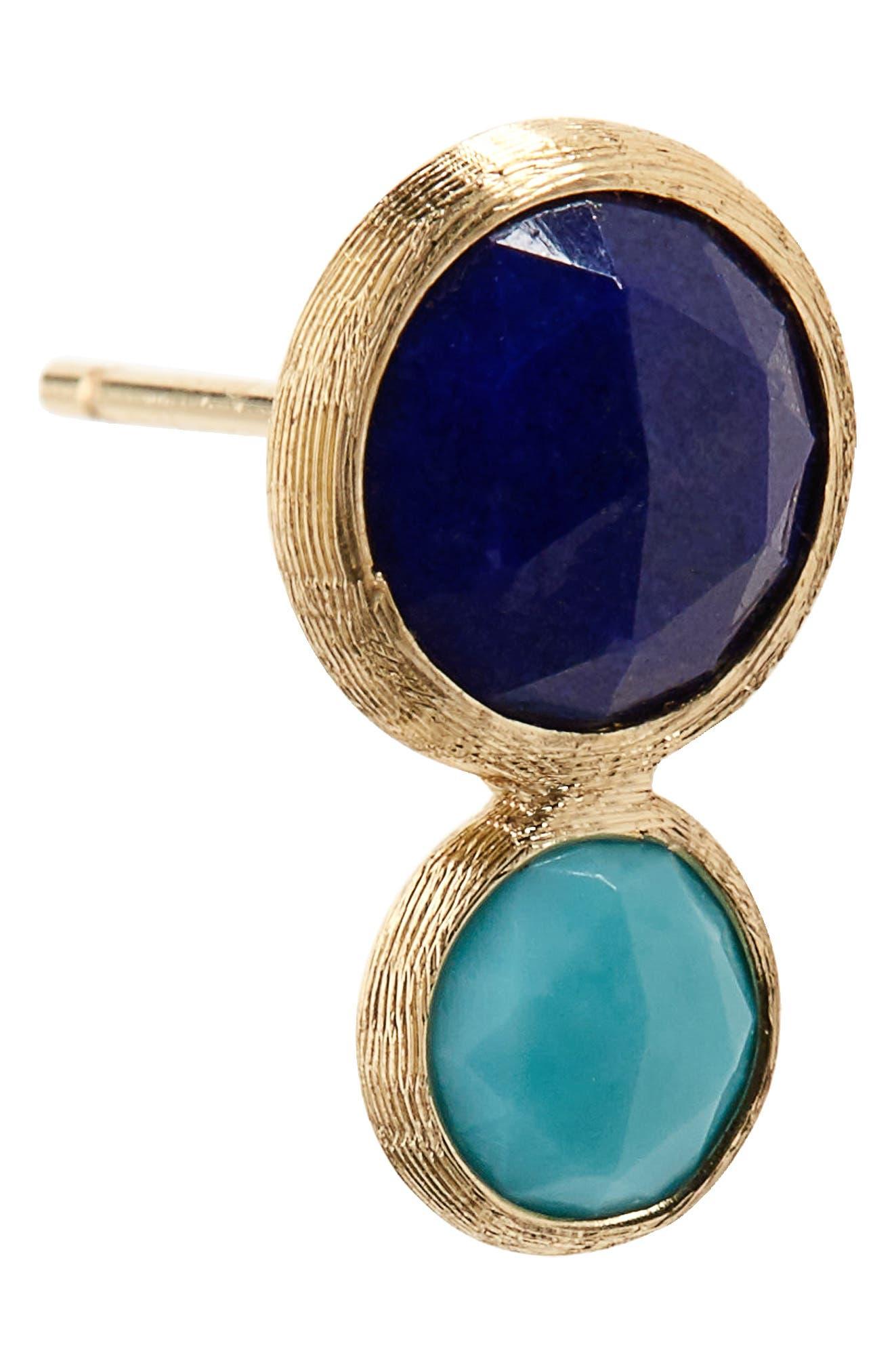 Jaipur Lapis & Turquoise Stud Earrings,                             Alternate thumbnail 5, color,                             Yellow Gold Lapis/ Turquoise