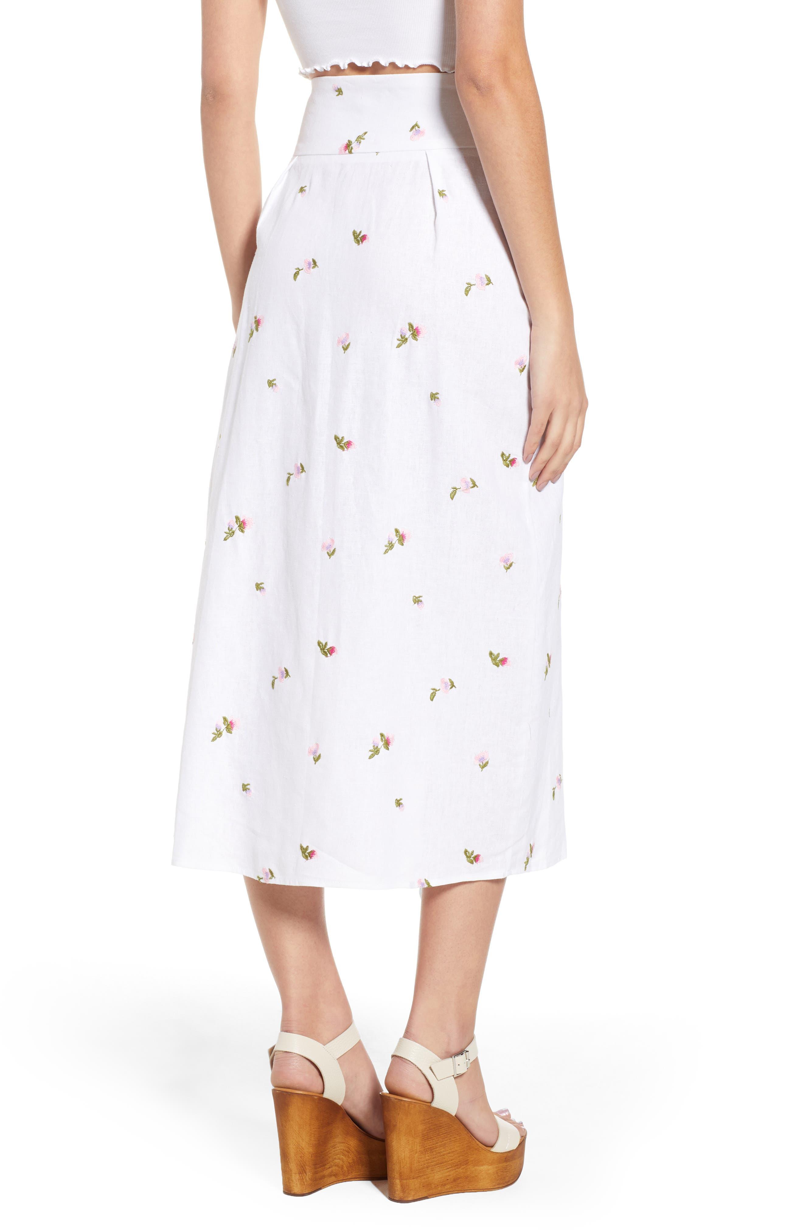 Sunset Midi Skirt,                             Alternate thumbnail 2, color,                             Ditsy Embroidery