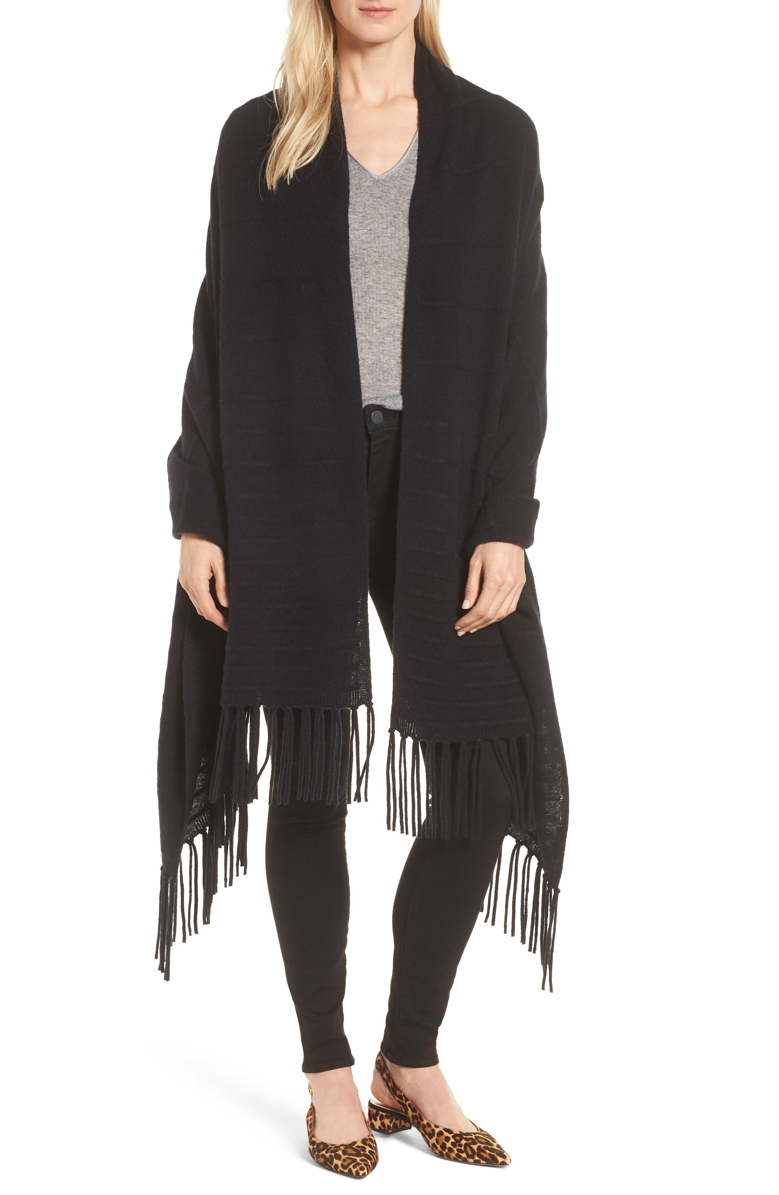 Cashmere Wrap,                         Main,                         color, Black