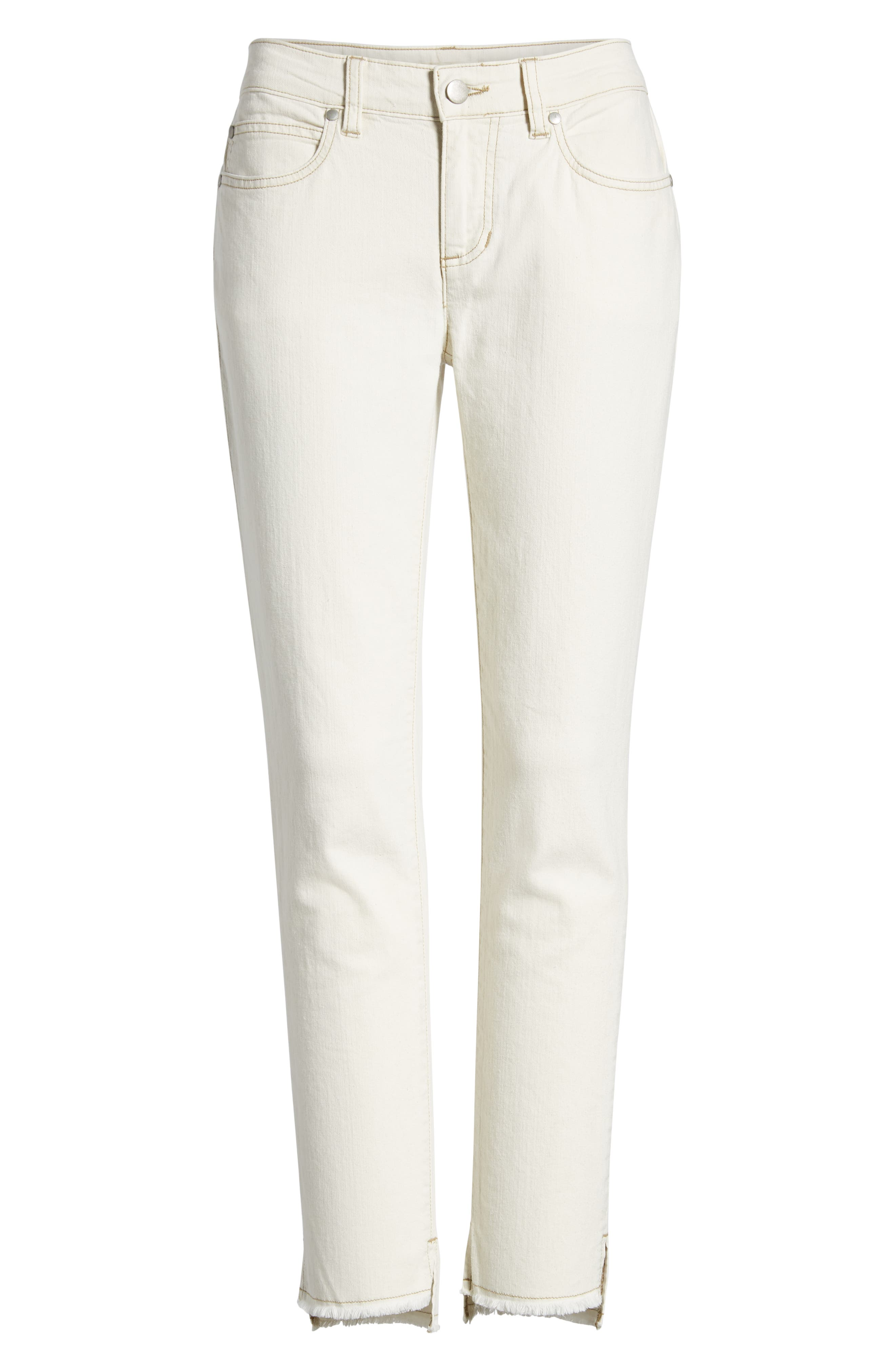 Stretch Organic Cotton Slim Ankle Jeans,                             Alternate thumbnail 6, color,                             Undyed Natural