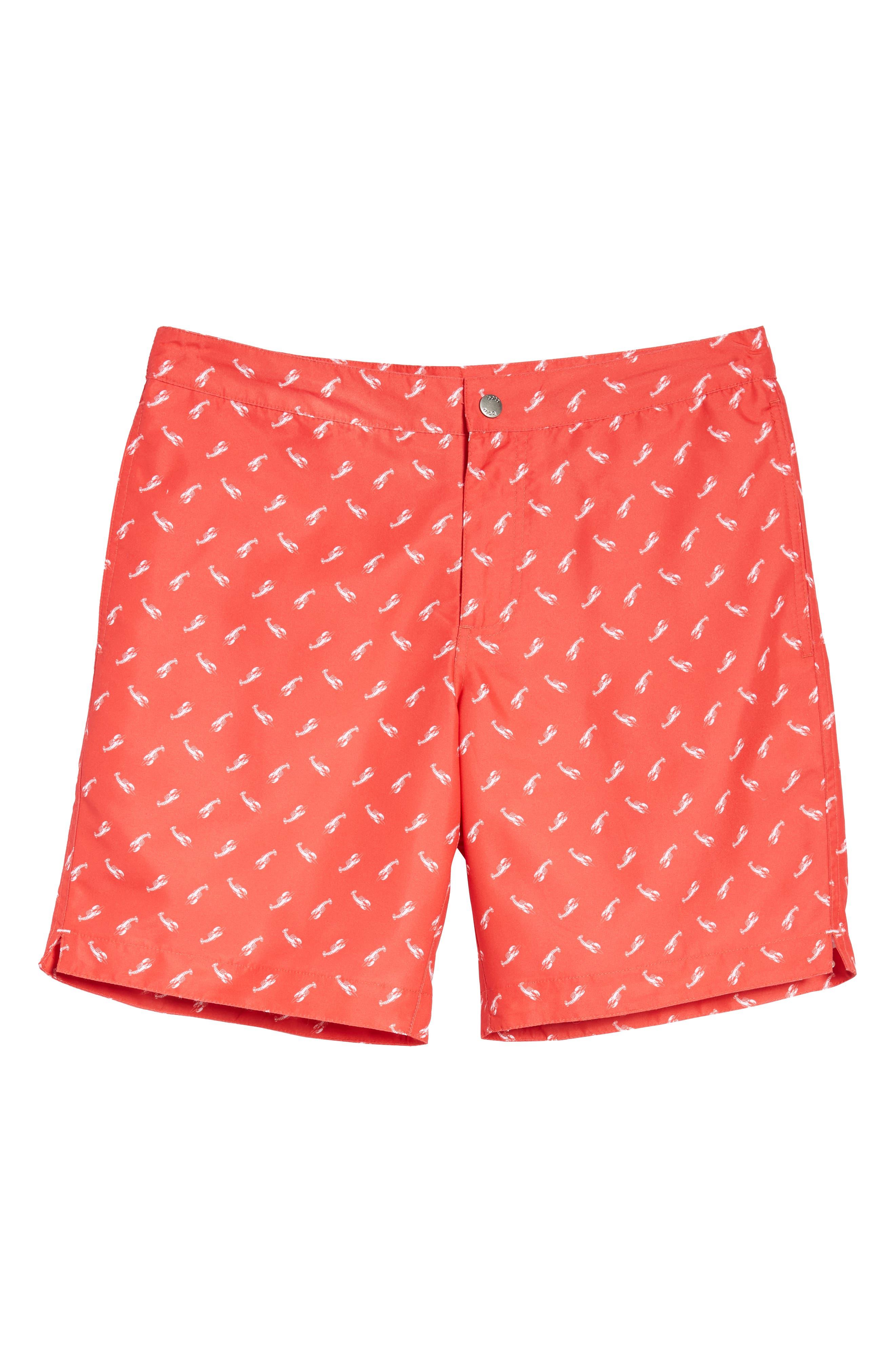 Aruba Slim Fit Swim Trunks,                             Alternate thumbnail 6, color,                             Red Lobsters Print