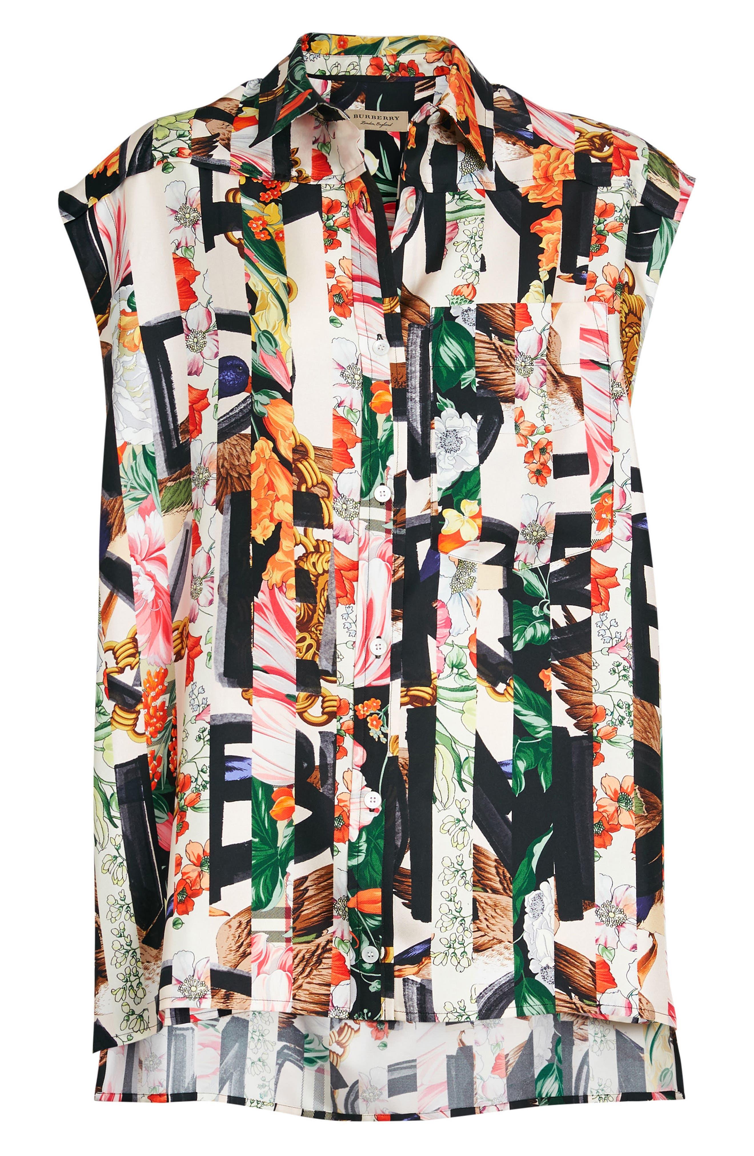Hen Silk Blouse,                             Alternate thumbnail 3, color,                             Multicolor Pattern