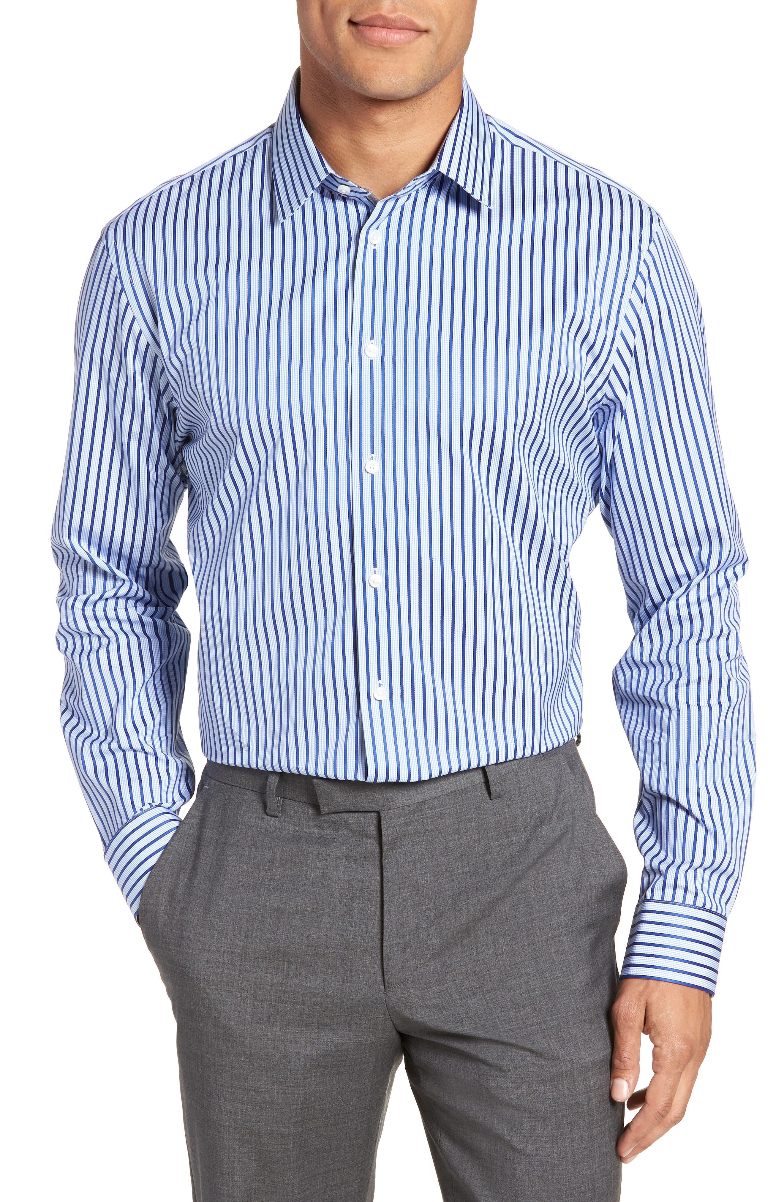 Calibrate Trim Fit Stripe Dress Shirt