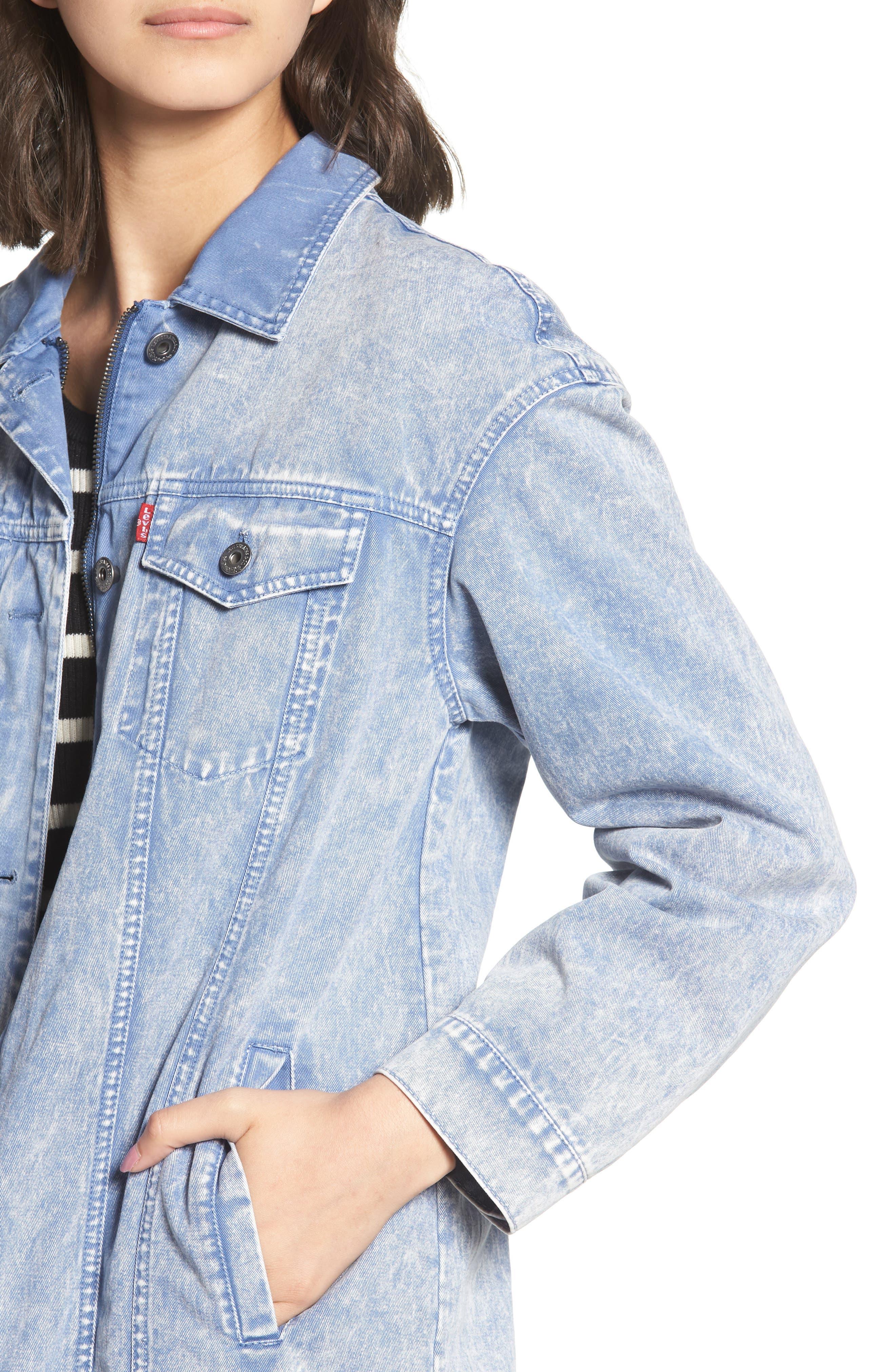 Oversize Cotton Canvas Trucker Jacket,                             Alternate thumbnail 4, color,                             Pacific Blue