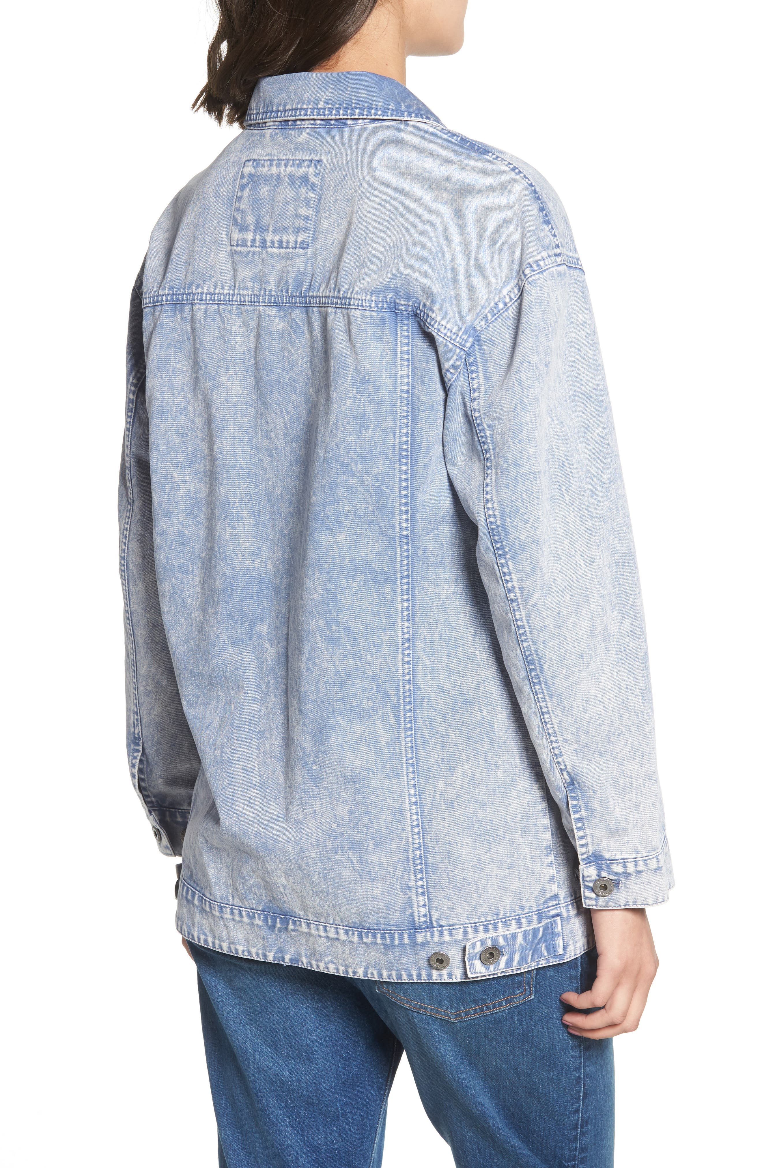 Oversize Cotton Canvas Trucker Jacket,                             Alternate thumbnail 2, color,                             Pacific Blue