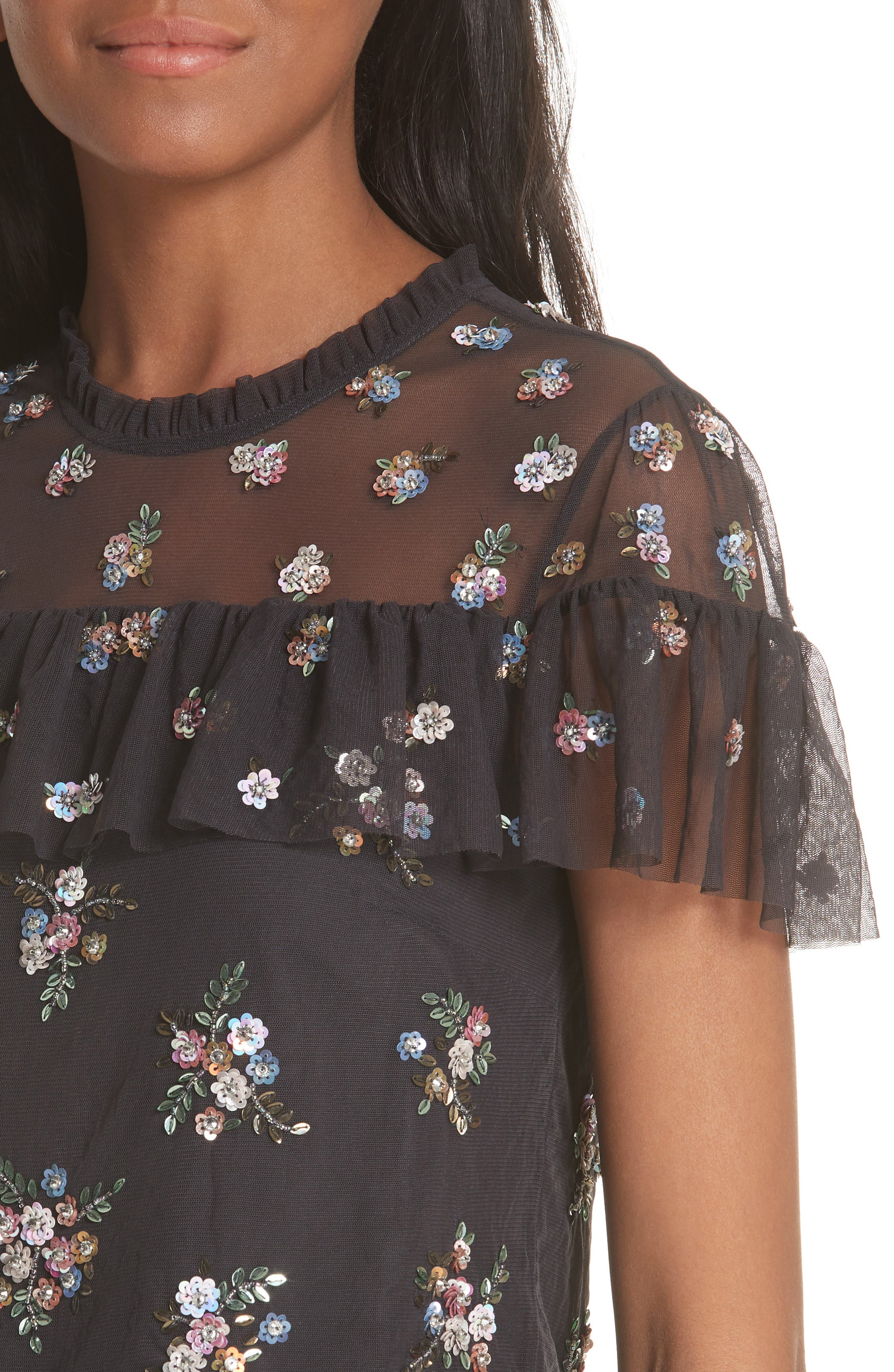 Floral Sequin Crop Top,                             Alternate thumbnail 4, color,                             Graphite