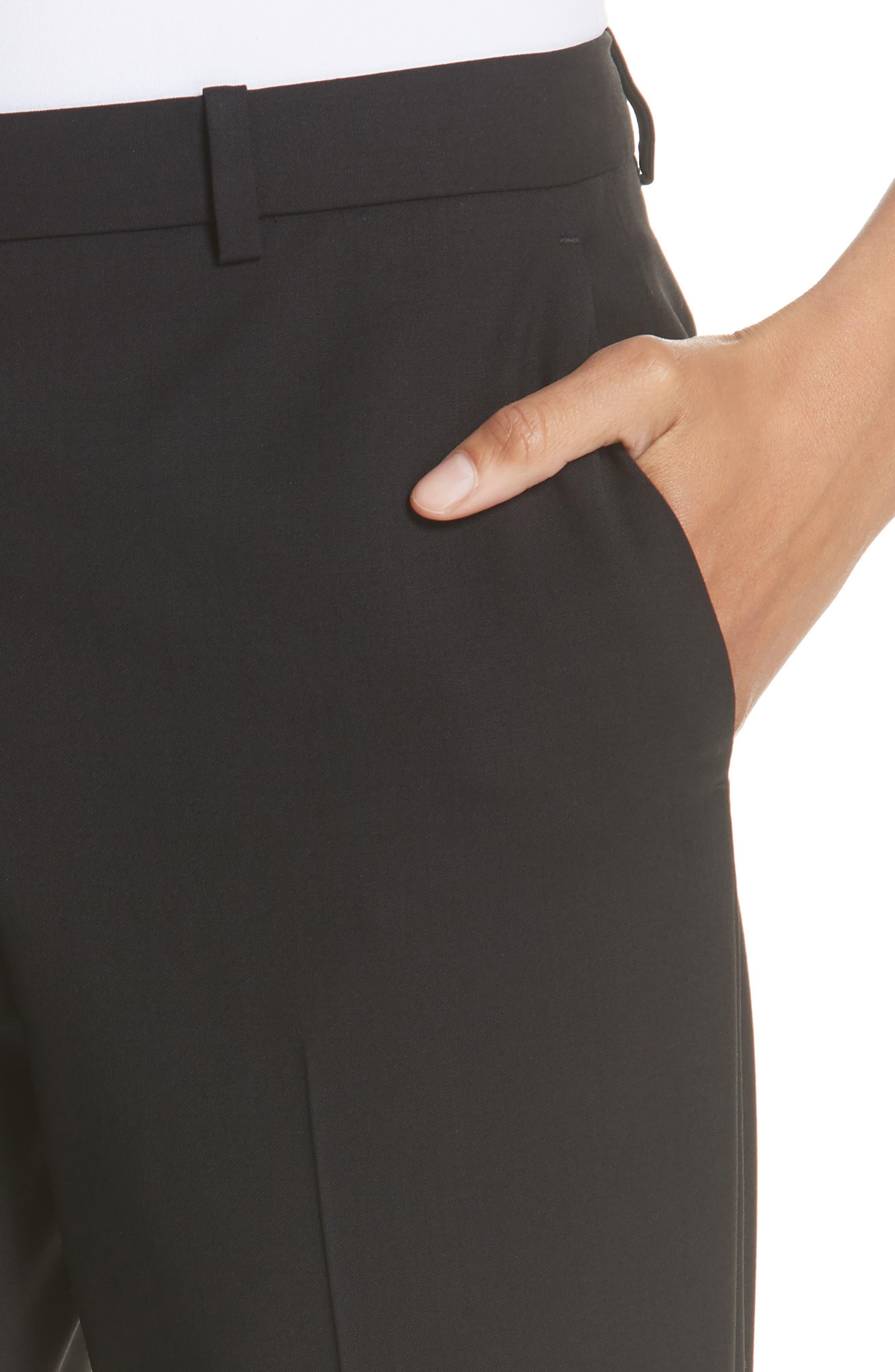 Demitria 2 Stretch Wool Suit Pants,                             Alternate thumbnail 4, color,                             Black