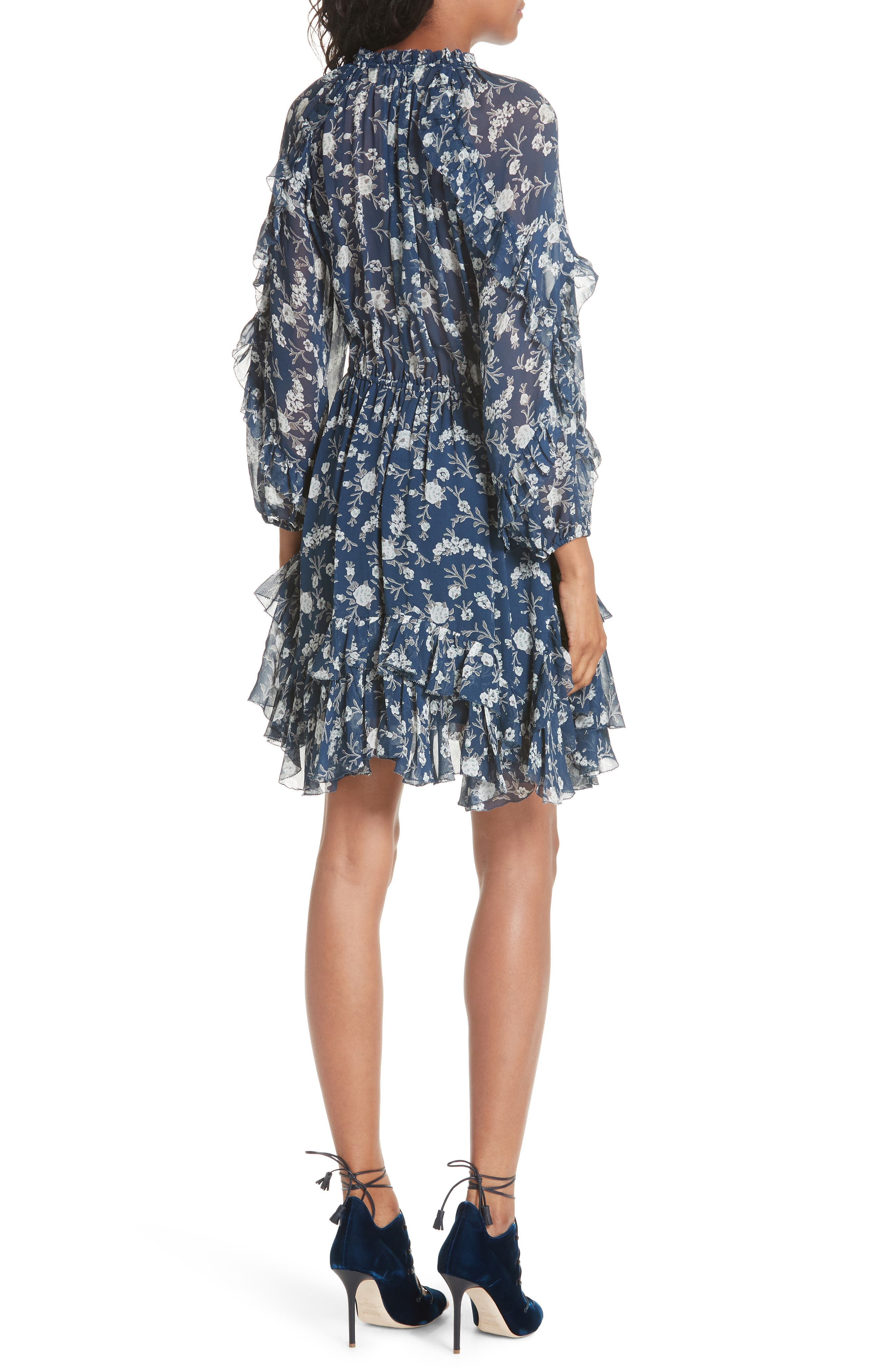 Alissa Silk Dress,                             Alternate thumbnail 2, color,                             Azure