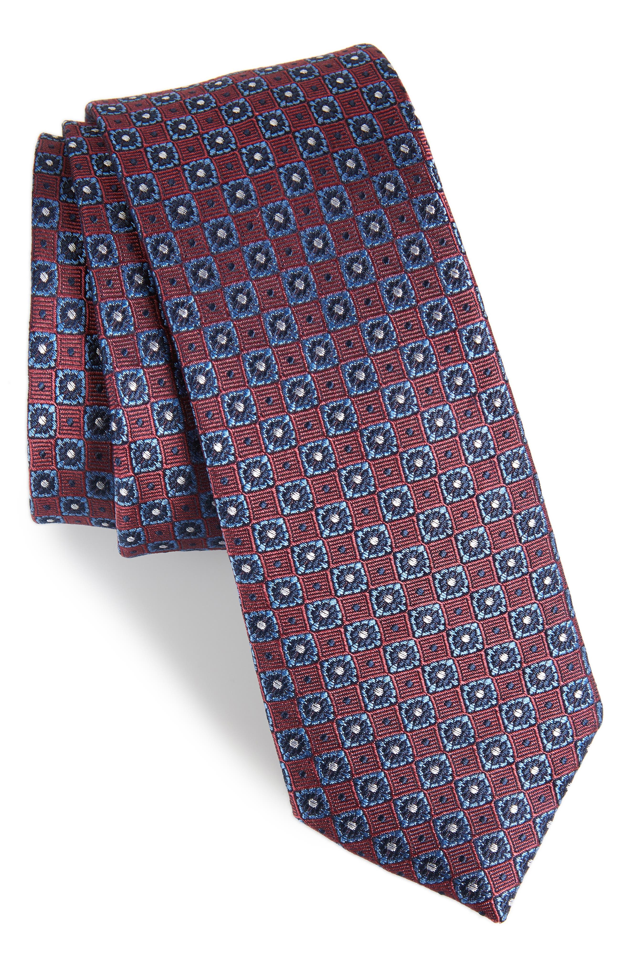 Medallion Silk Tie,                         Main,                         color, Marsala