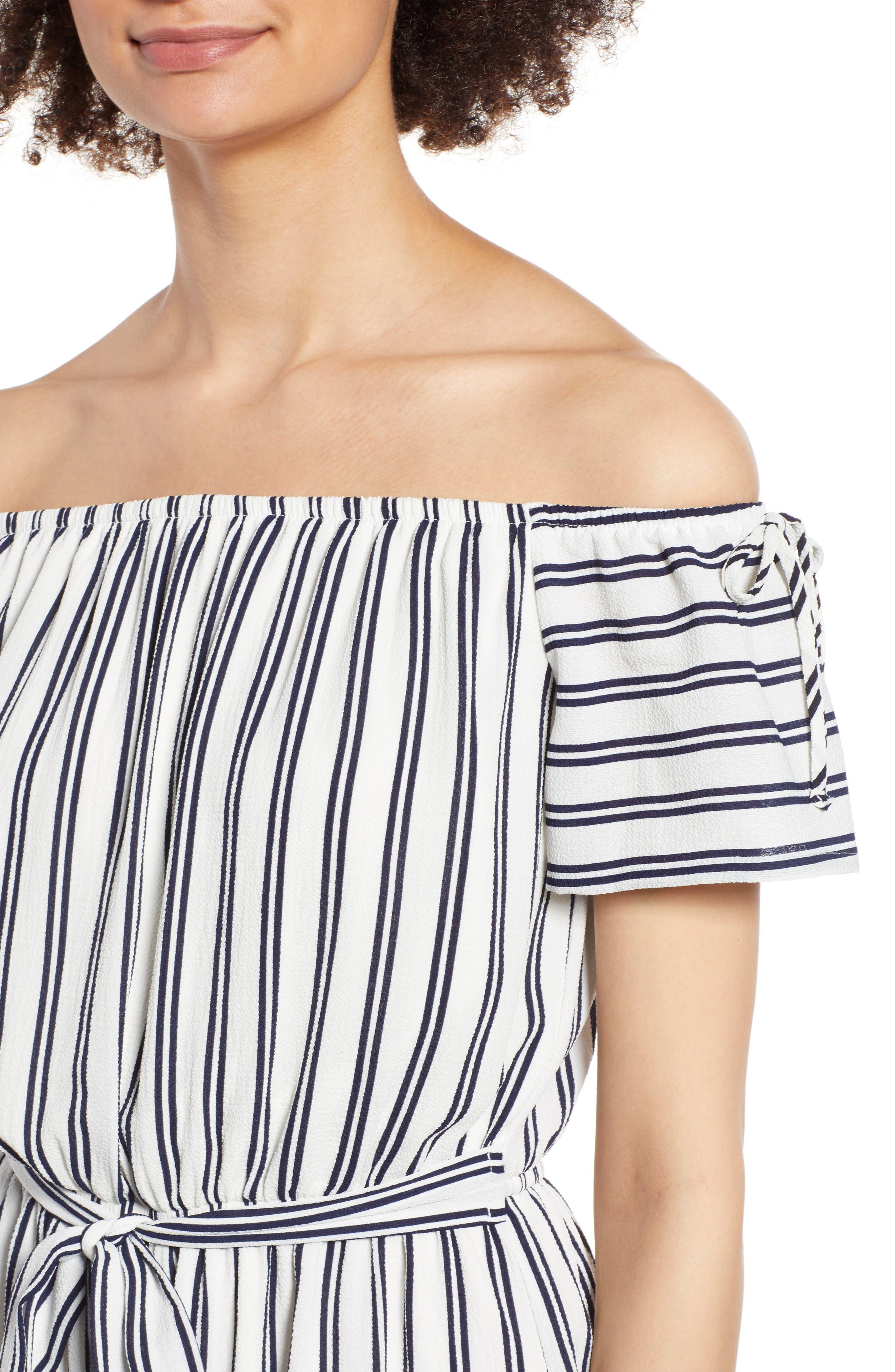 Stripe Off the Shoulder Romper,                             Alternate thumbnail 4, color,                             Navy/ Ivory Stripe