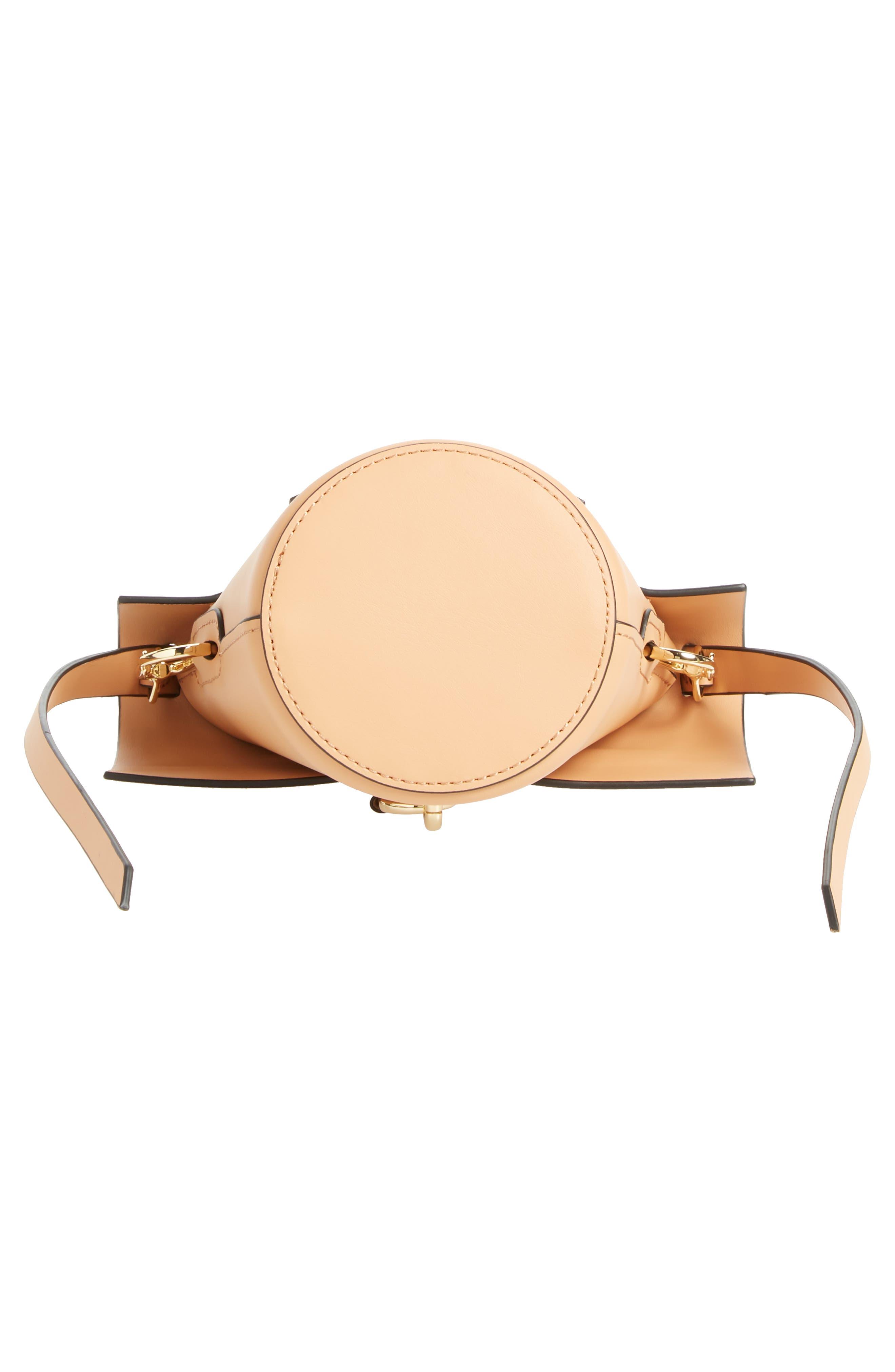Mini Belay Calfskin Leather Crossbody Bucket Bag,                             Alternate thumbnail 6, color,                             Vachetta