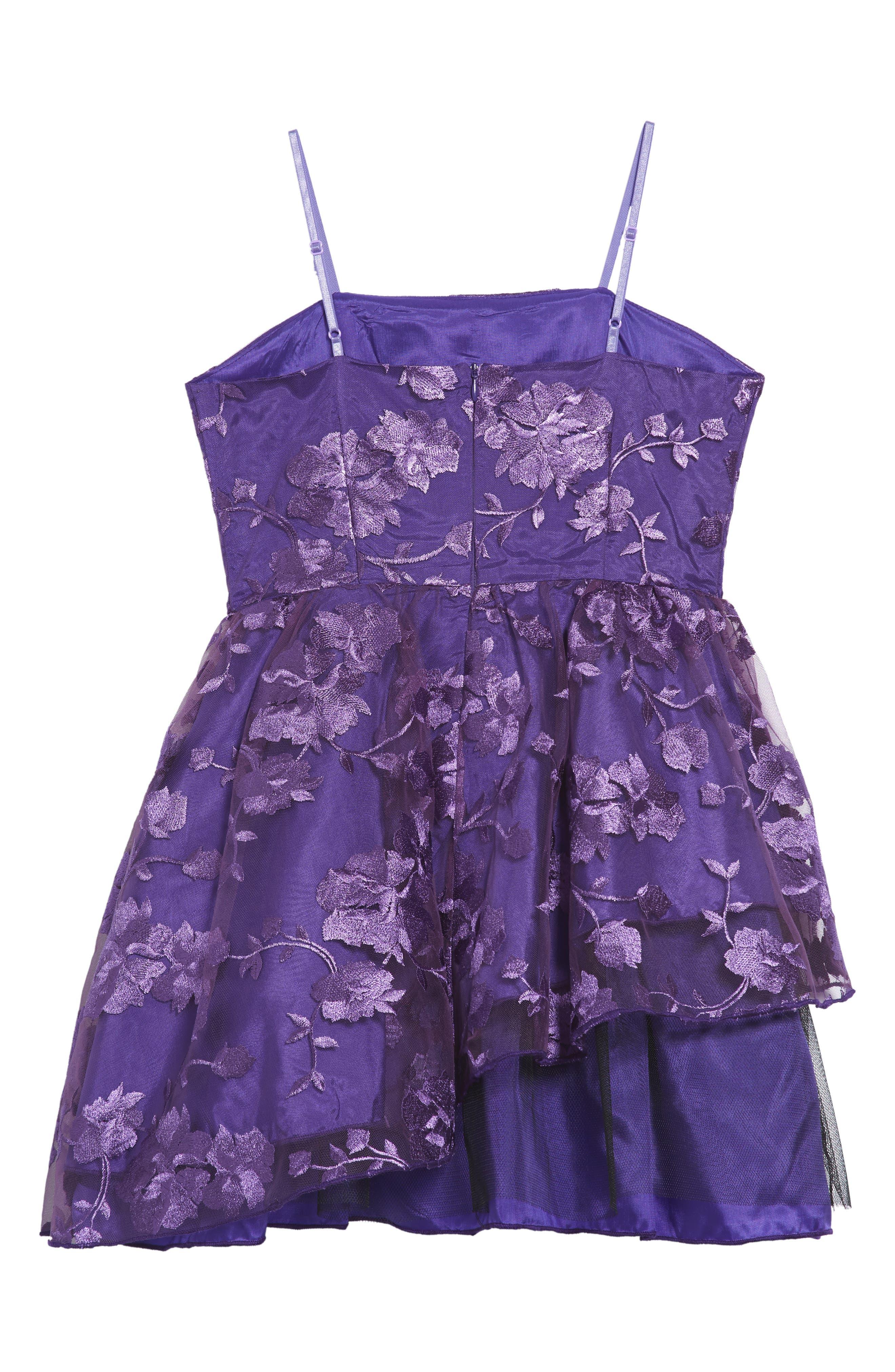 Floral Mesh Sleeveless Dress,                             Alternate thumbnail 2, color,                             Plum