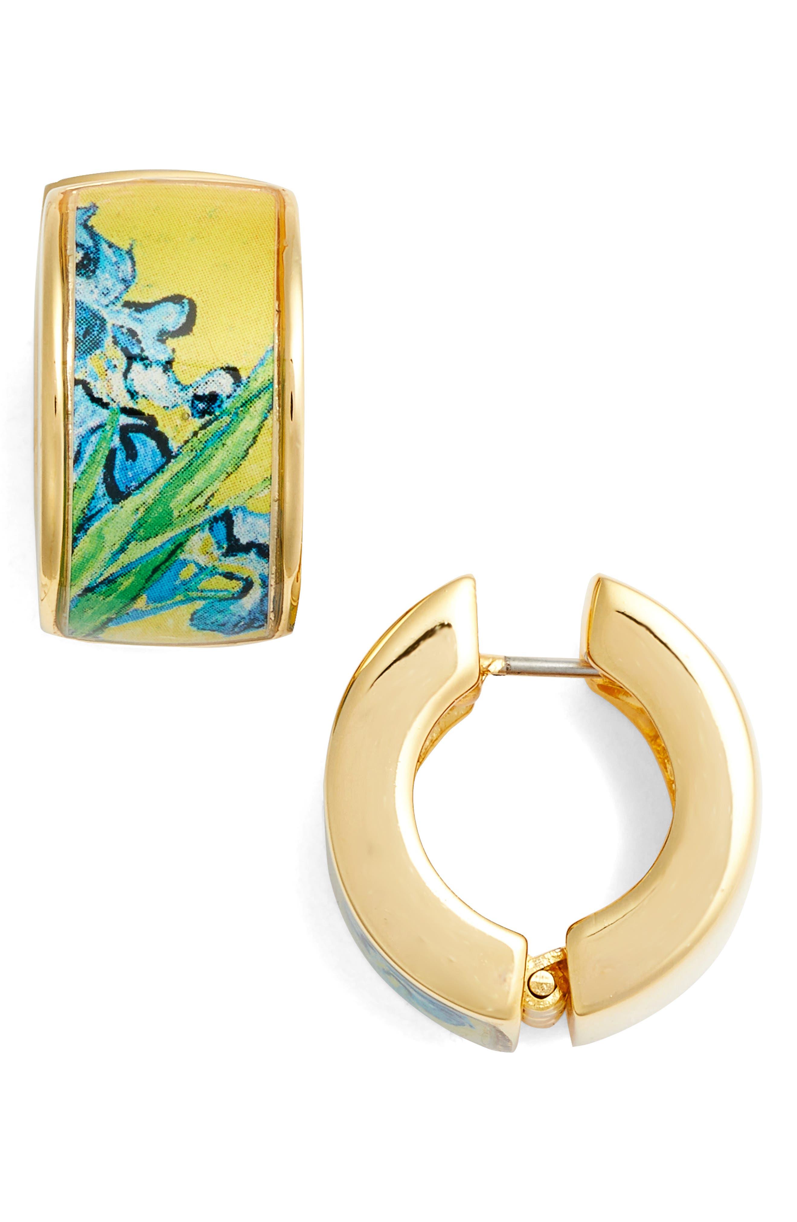 Irises Earrings,                             Main thumbnail 1, color,                             Yellow/ Gold