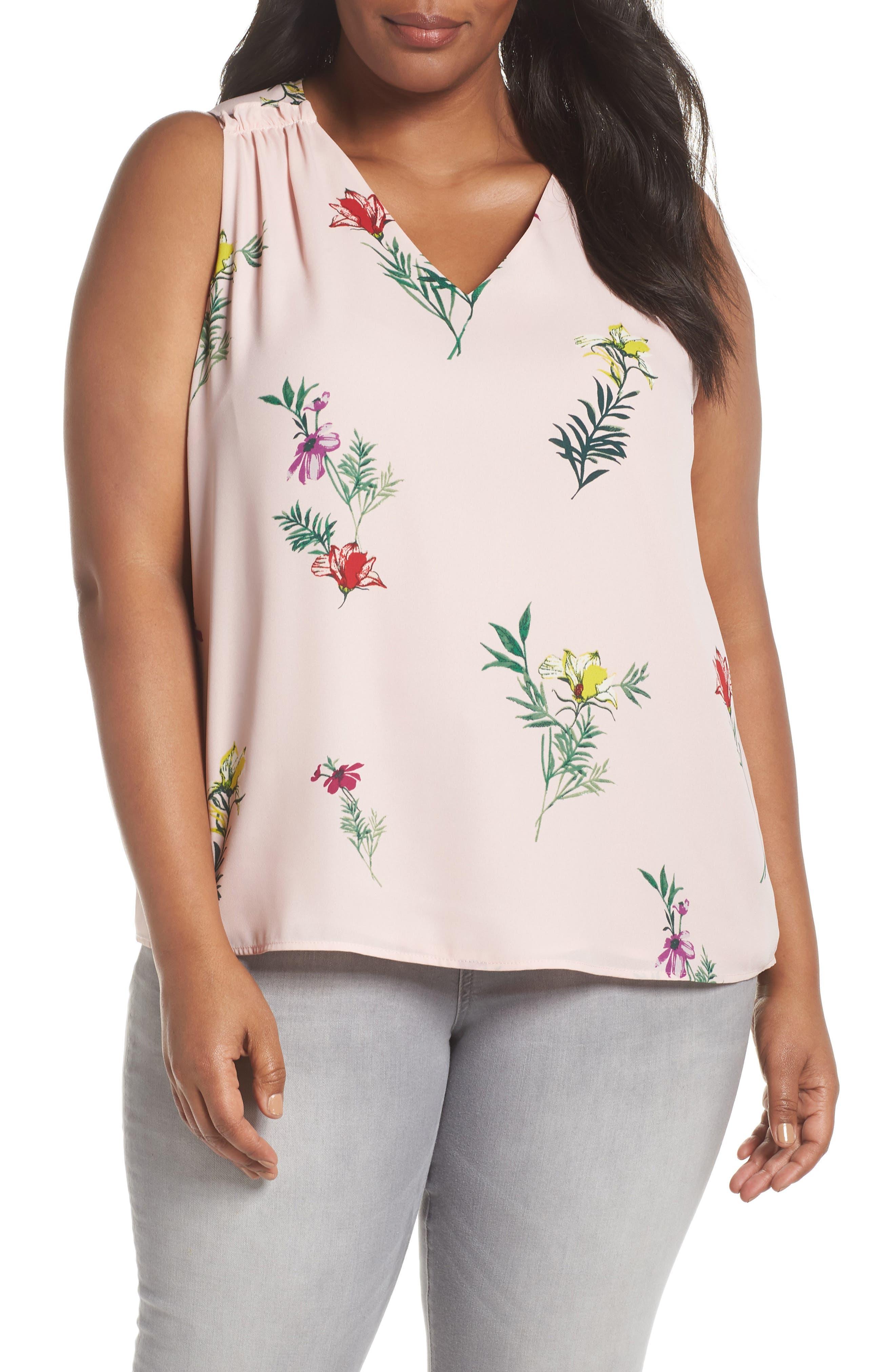 Tropical Garden Bouquet Top,                             Main thumbnail 1, color,                             Eden Pink
