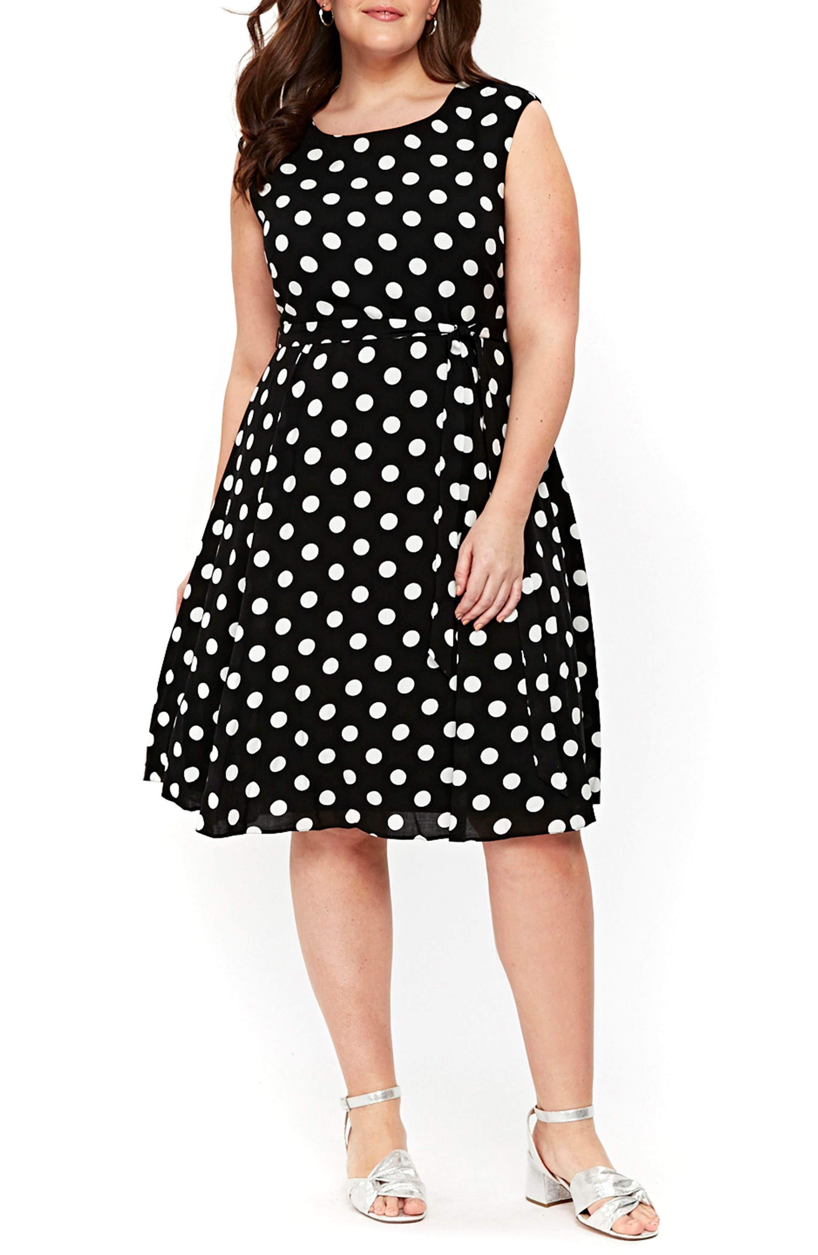 Dot Tie Waist A-Line Dress,                             Main thumbnail 1, color,                             Dark Multi
