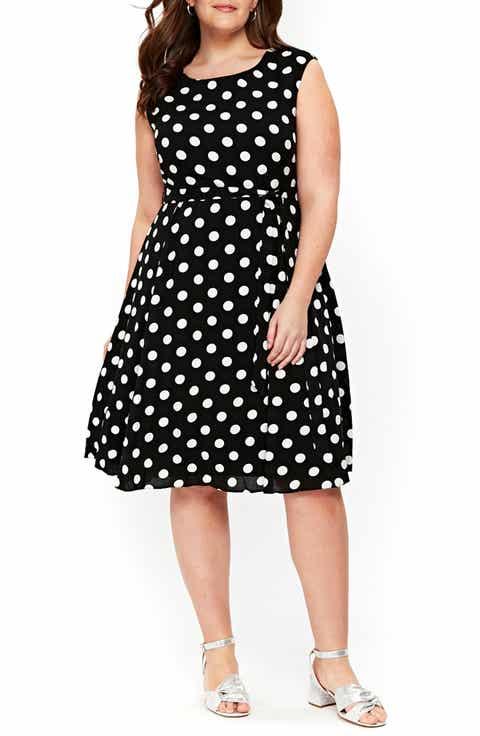 Evans Dot Tie Waist A-Line Dress (Plus Size)