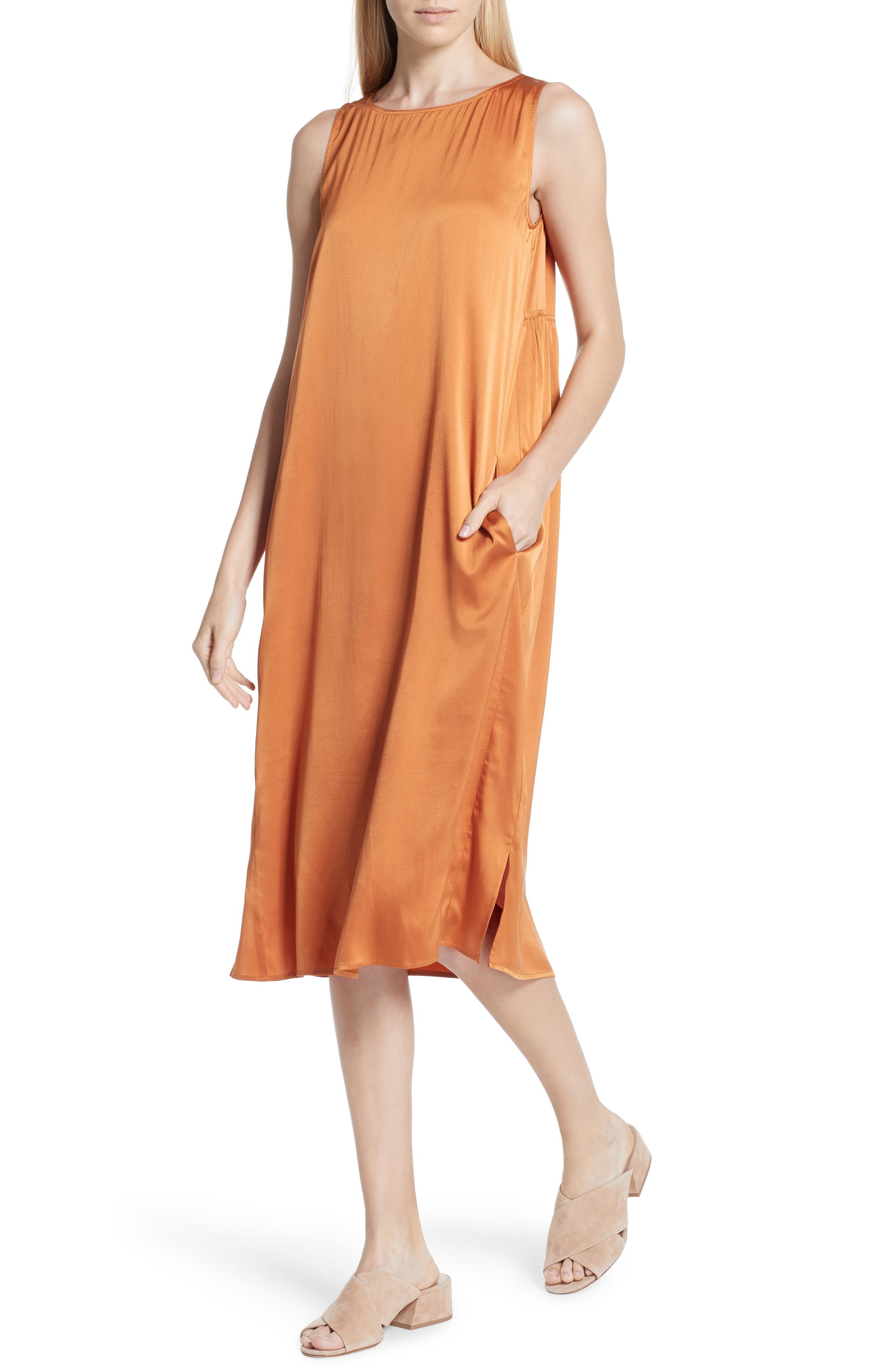 Stretch Silk Tank Dress,                             Alternate thumbnail 3, color,                             Deep Cumin