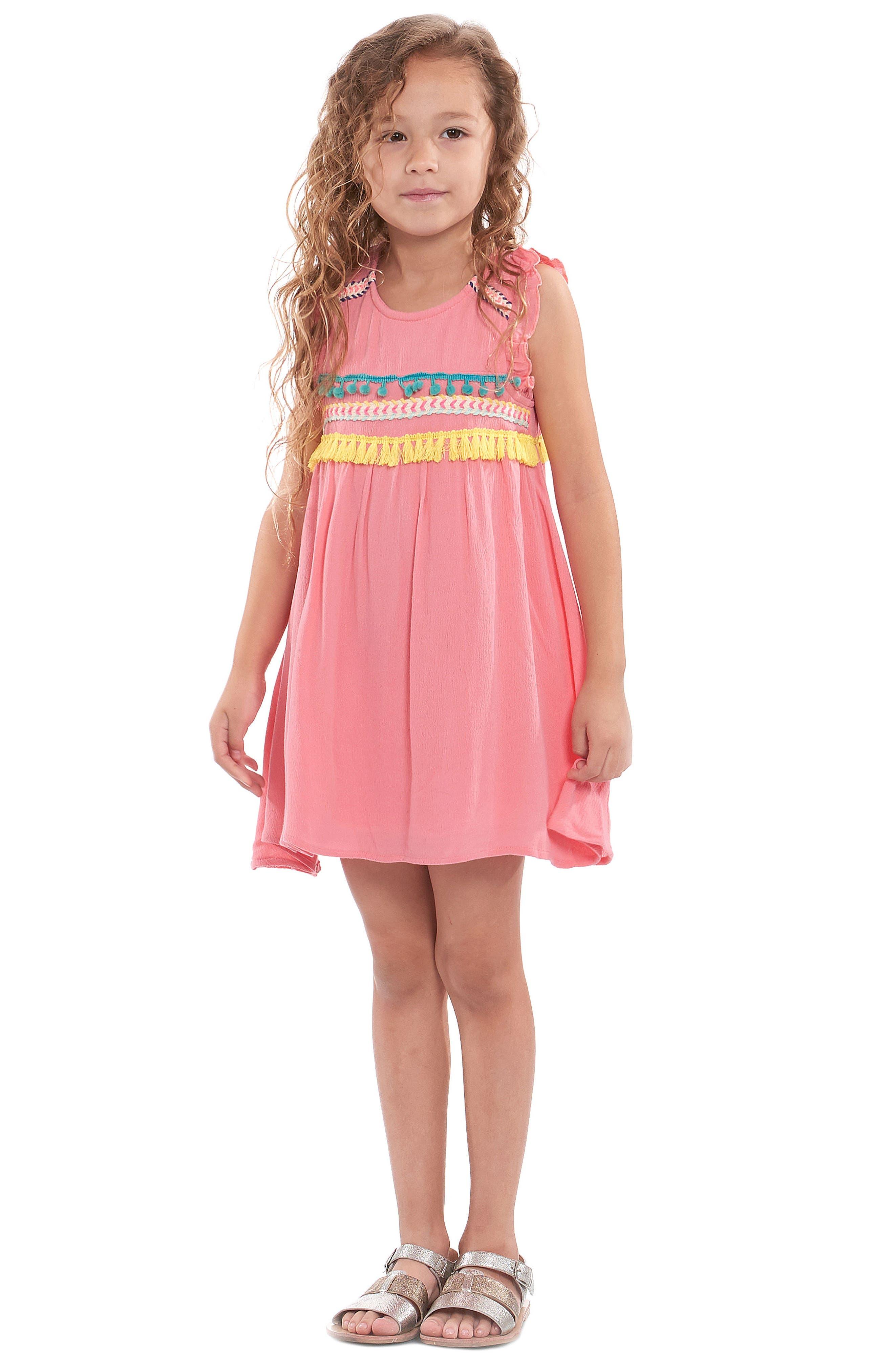 Trim Babydoll Dress,                             Alternate thumbnail 5, color,                             Coral