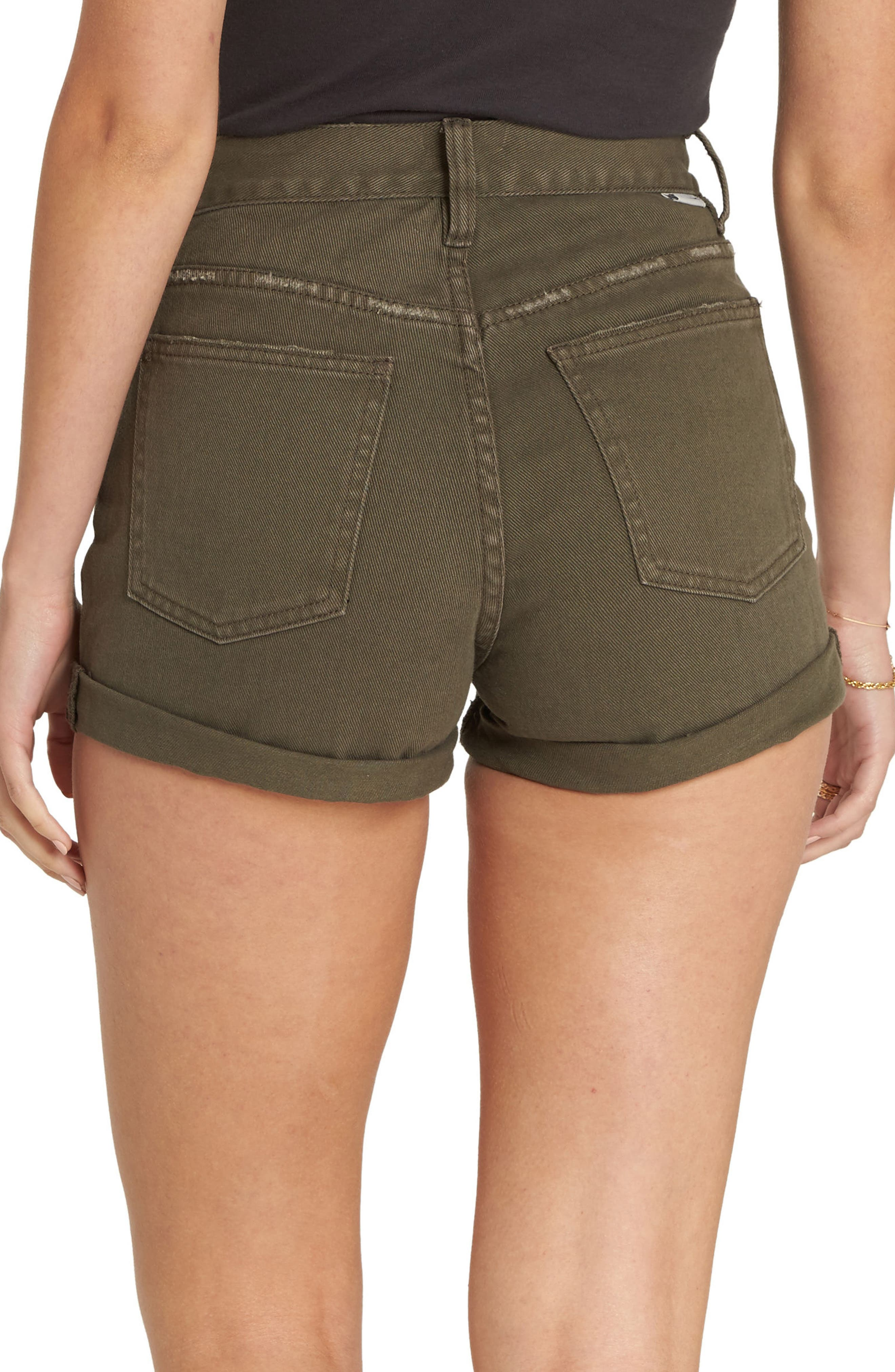 High Tide Denim Shorts,                             Alternate thumbnail 2, color,                             Olive