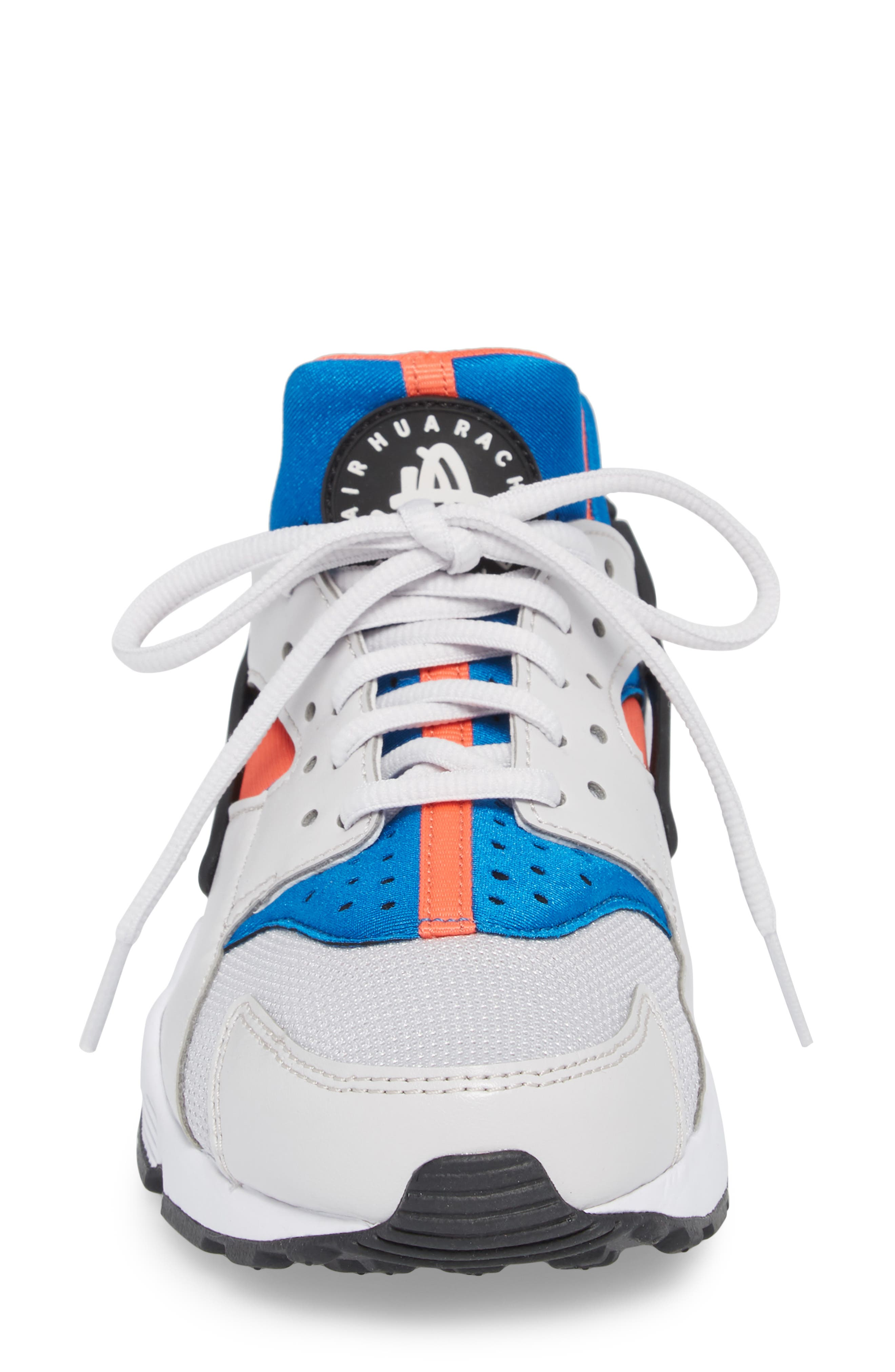 Air Huarache Run Sneaker,                             Alternate thumbnail 4, color,                             Grey/ Black/ Coral/ Nebula