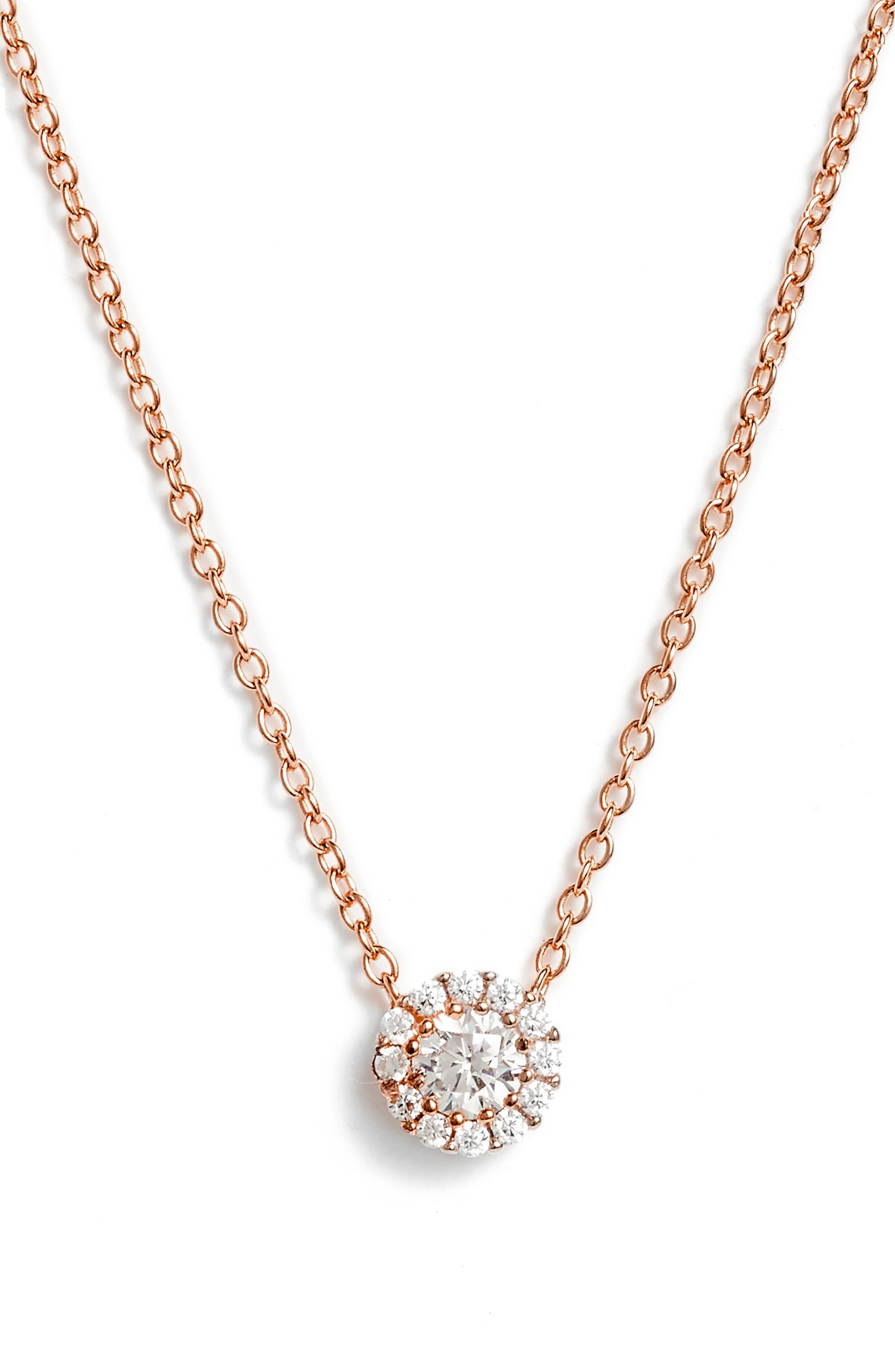Cubic Zirconia Halo Pendant Necklace,                             Main thumbnail 1, color,                             Rose Gold