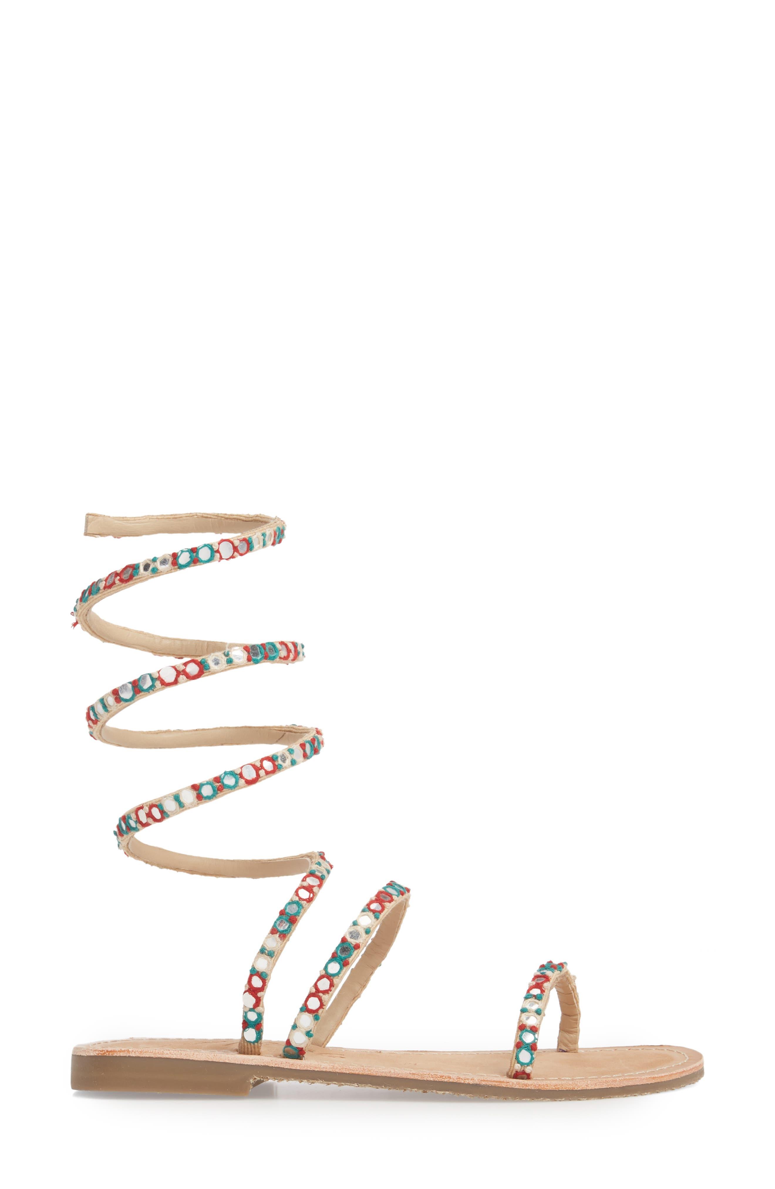 Havana Embellished Wraparound Gladiator Sandal,                             Alternate thumbnail 3, color,                             Natural