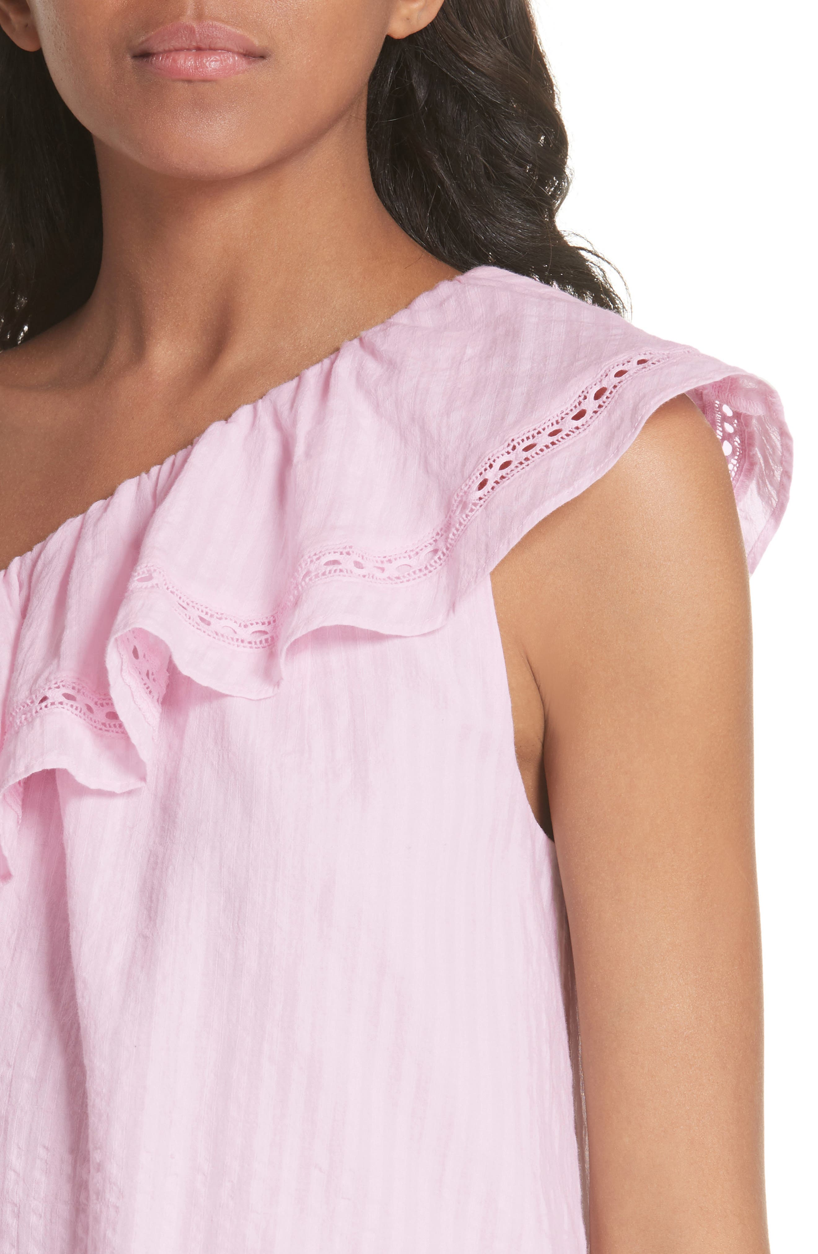 puckered cotton one-shoulder top,                             Alternate thumbnail 4, color,                             Pink Lemonade