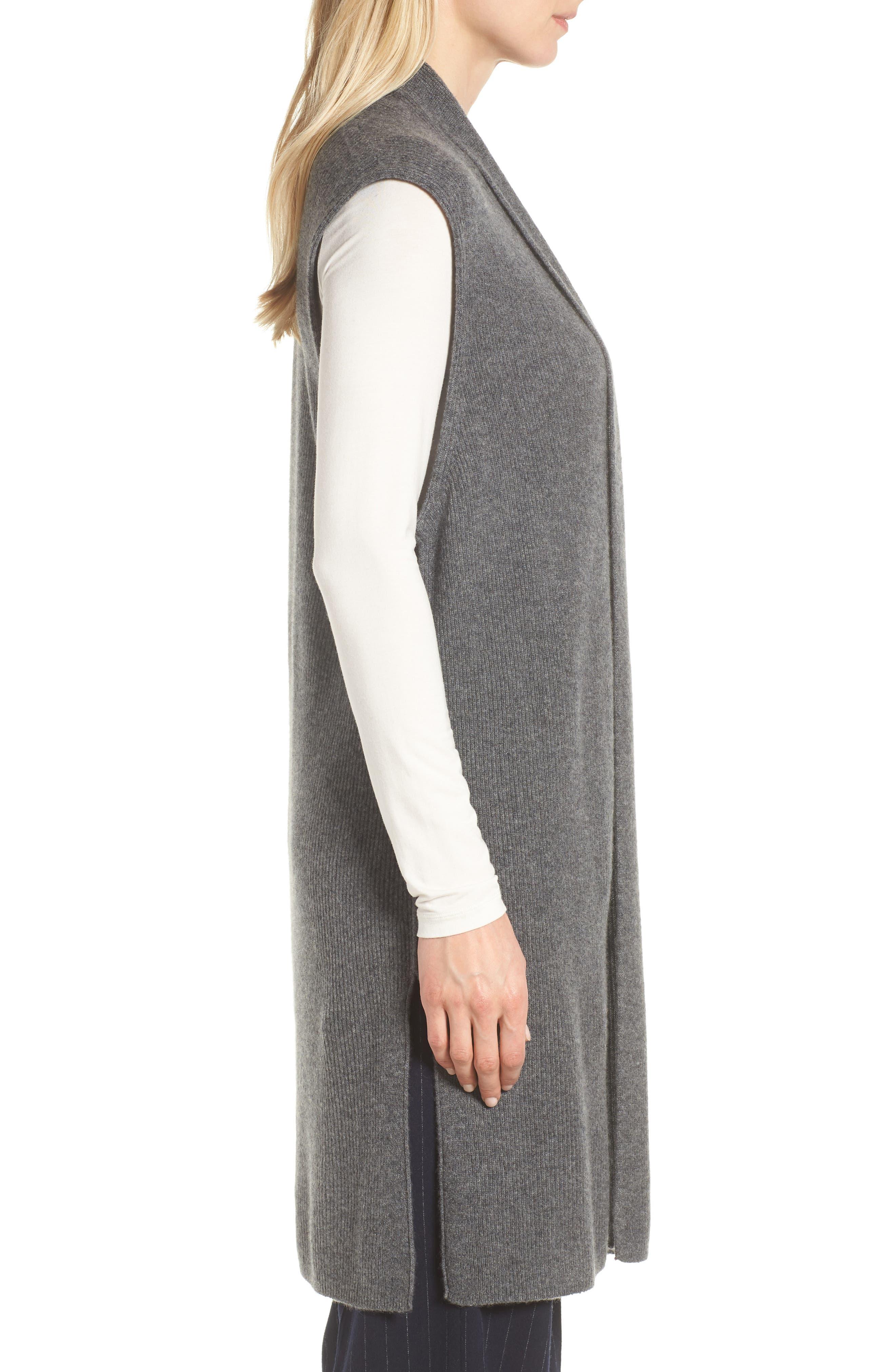 Ribbed Cashmere Vest,                             Alternate thumbnail 3, color,                             Grey Dark Heather