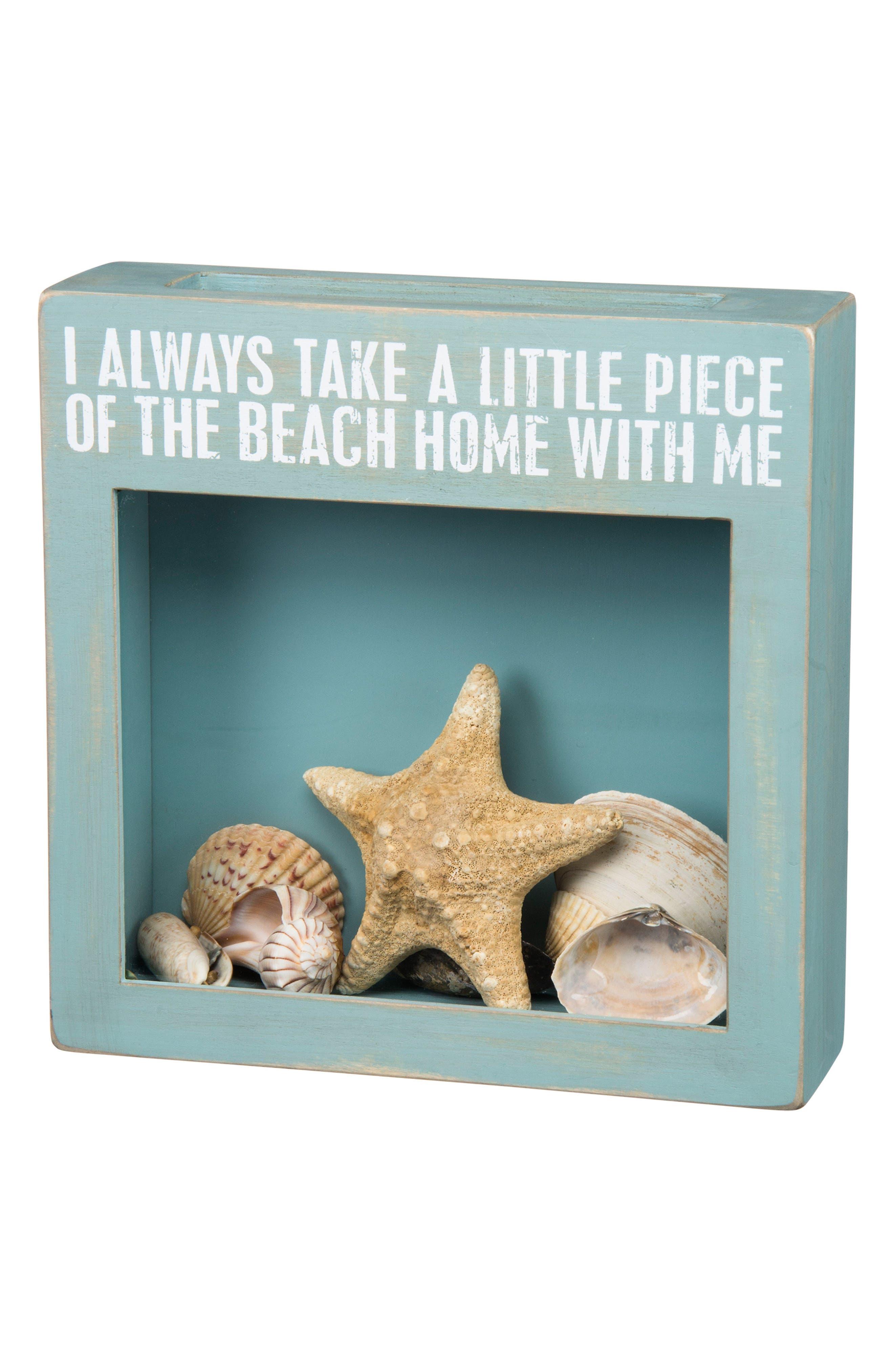 A Little Piece Of The Beach Shadow Box,                             Main thumbnail 1, color,                             Blue