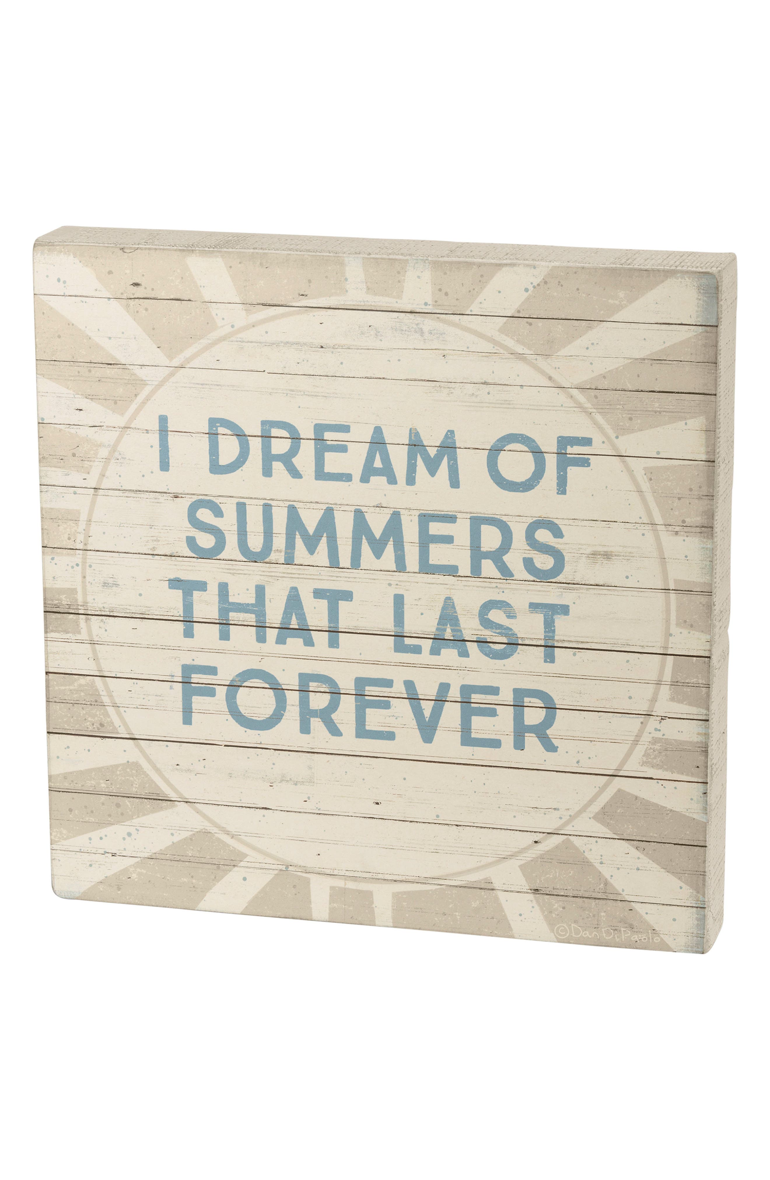Summers That Last Forever Box Sign,                         Main,                         color, Blue