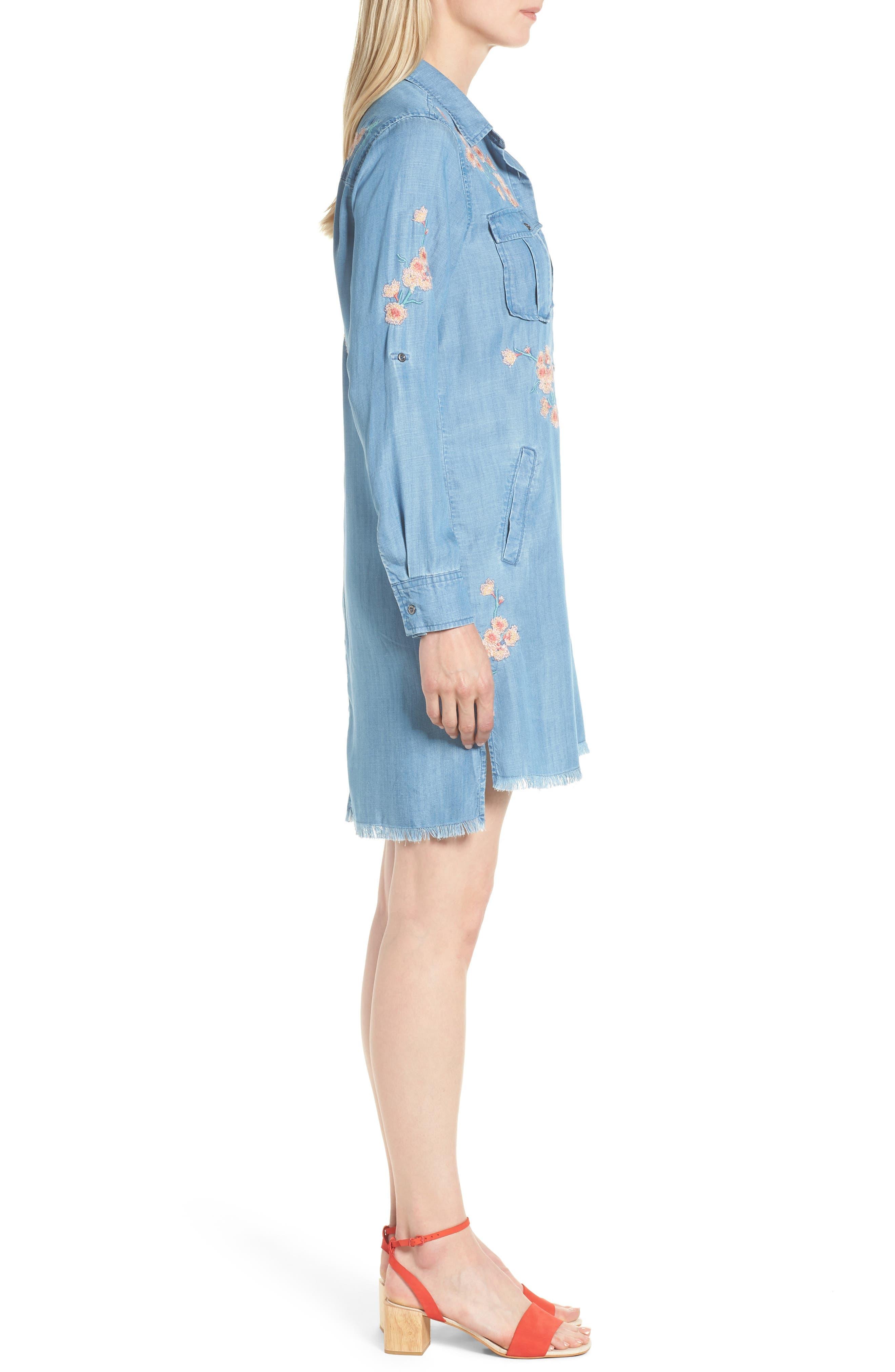 Cherry Blossom Shirtdress,                             Alternate thumbnail 3, color,                             Blue Emb