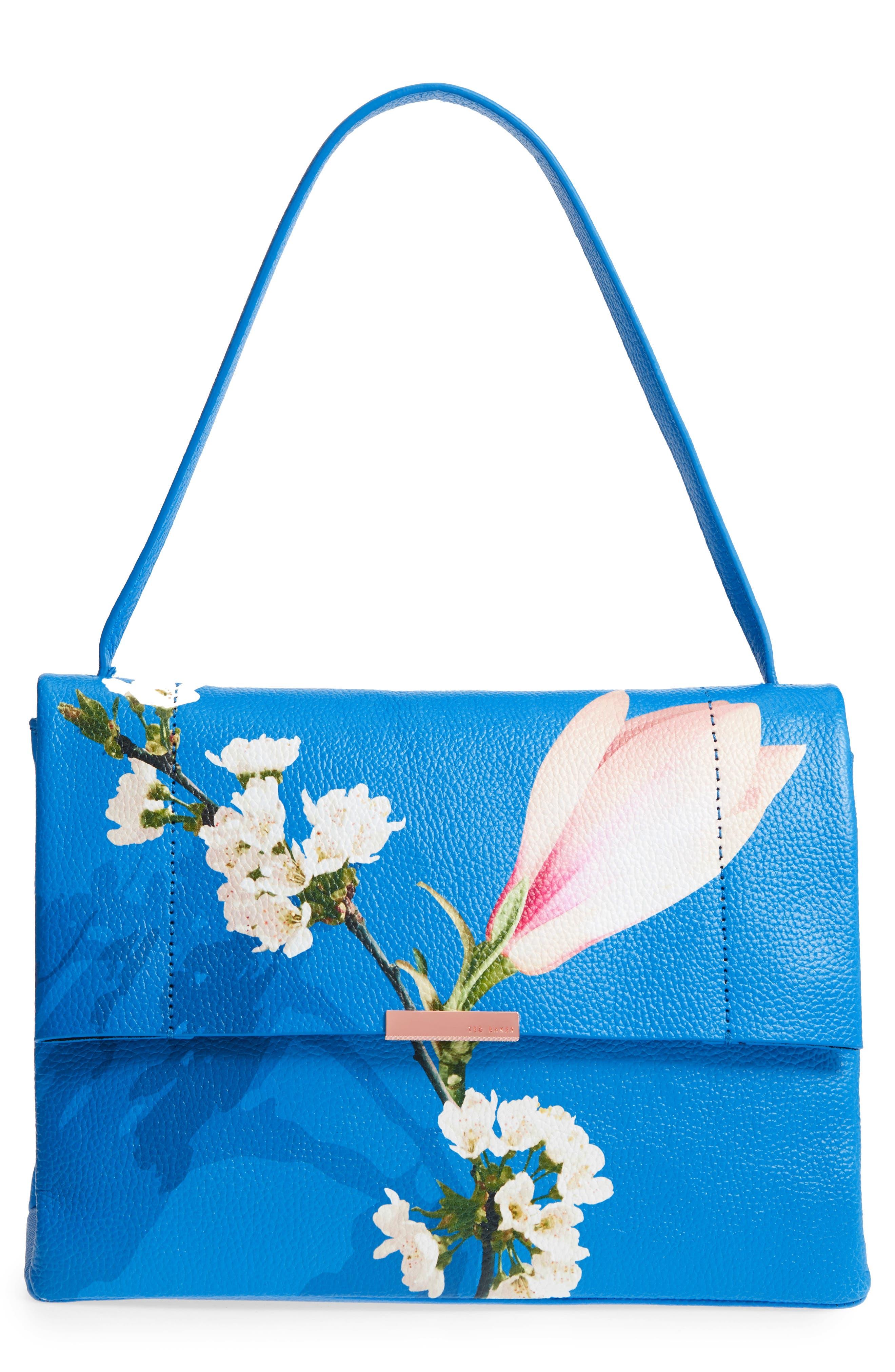 Heeidi Harmony Print Leather Shoulder Bag,                             Main thumbnail 1, color,                             Bright Blue