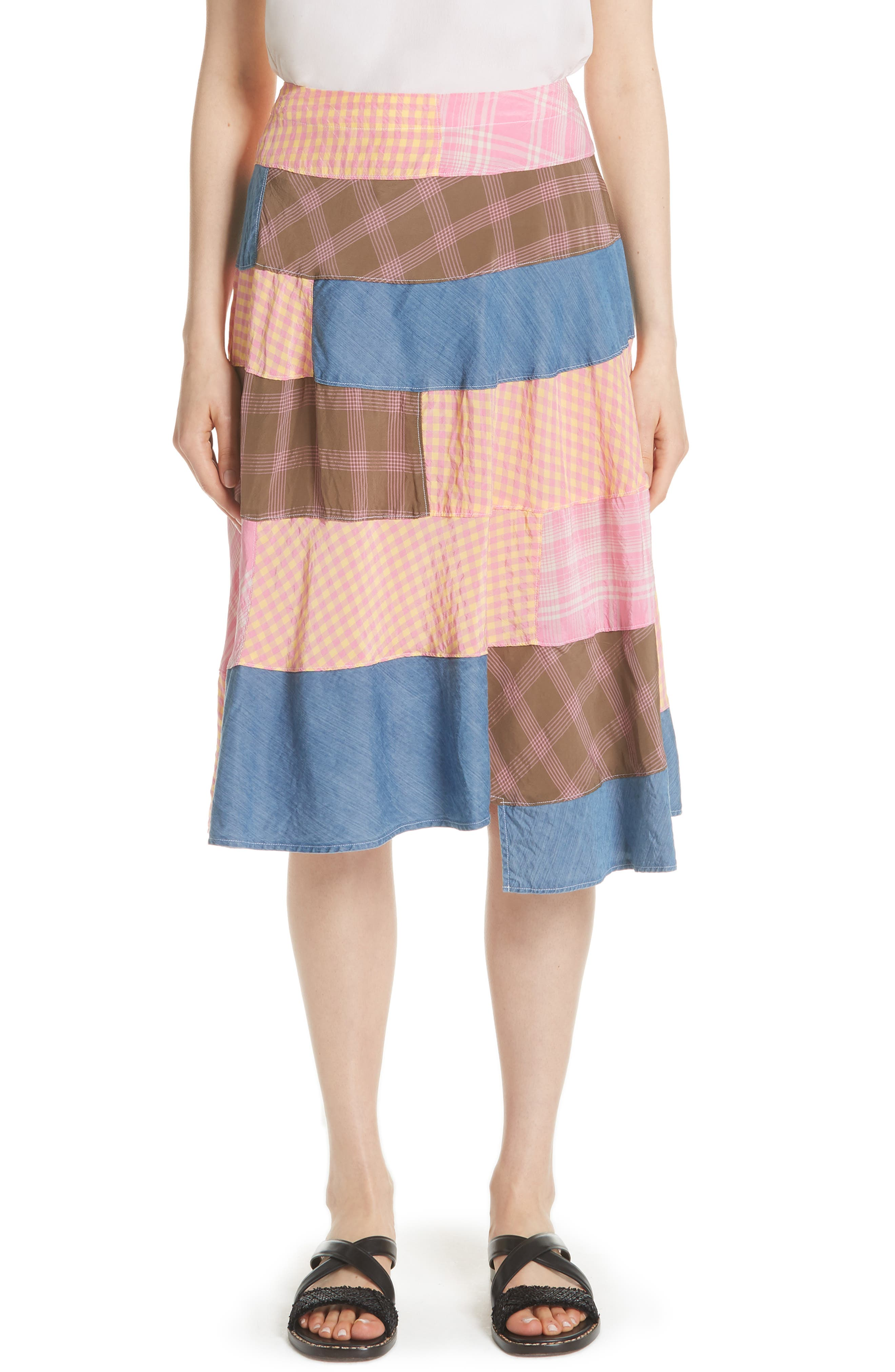 TRICOT COMME DES GARCONS PATCHWORK GINGHAM SKIRT