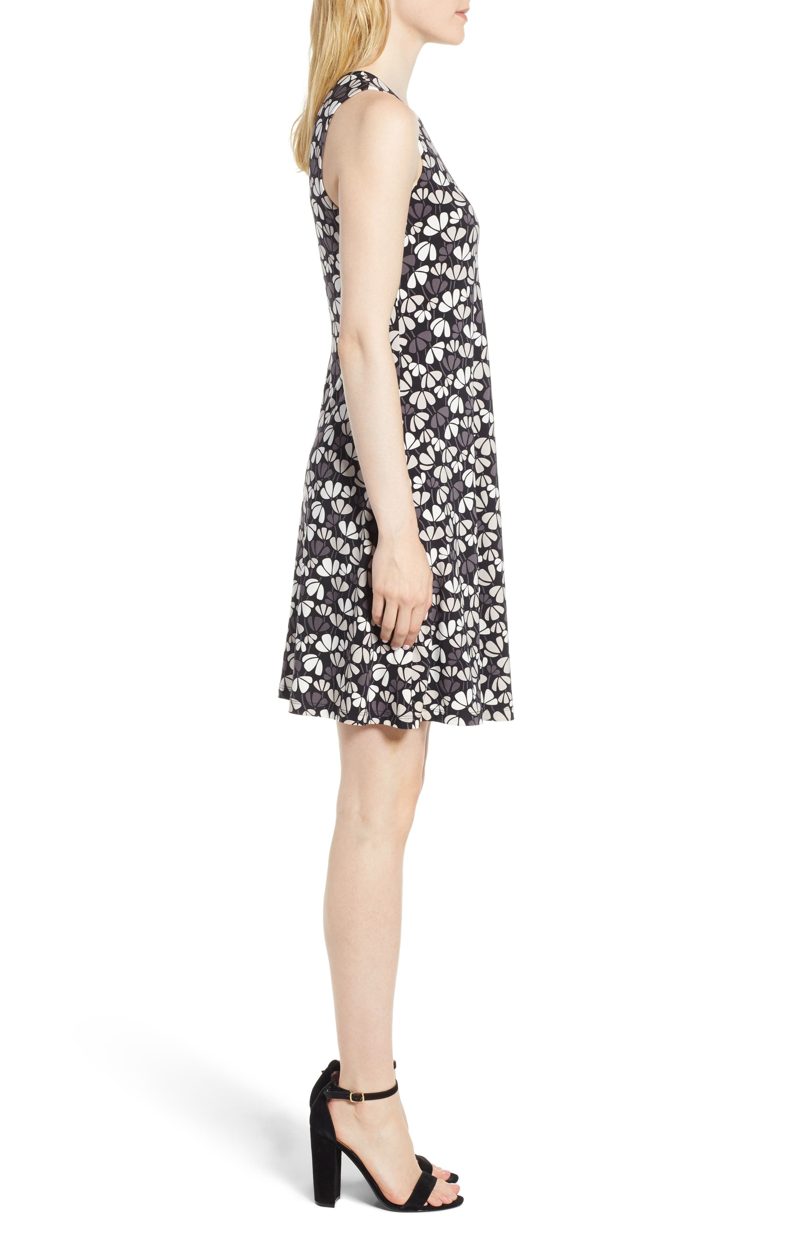Flowerfall Stretch Knit Swing Dress,                             Alternate thumbnail 3, color,                             Black/ Oyster Shell Combo