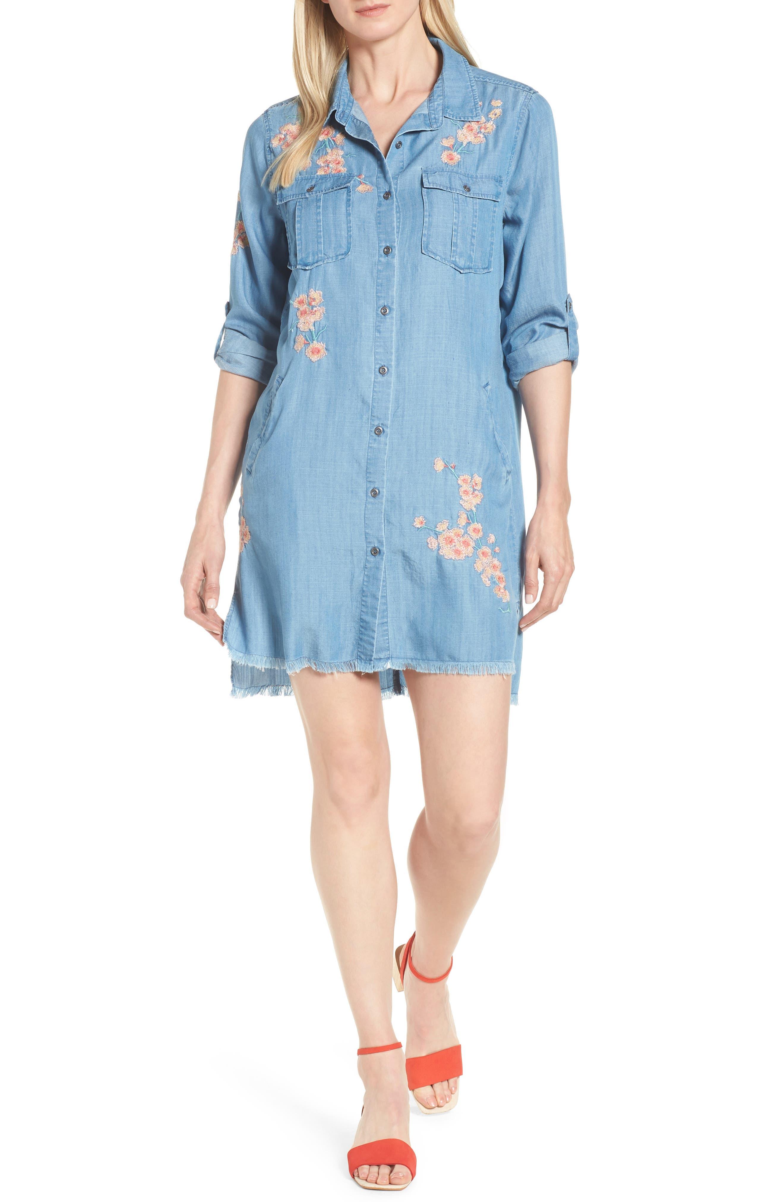 Cherry Blossom Shirtdress,                             Main thumbnail 1, color,                             Blue Emb