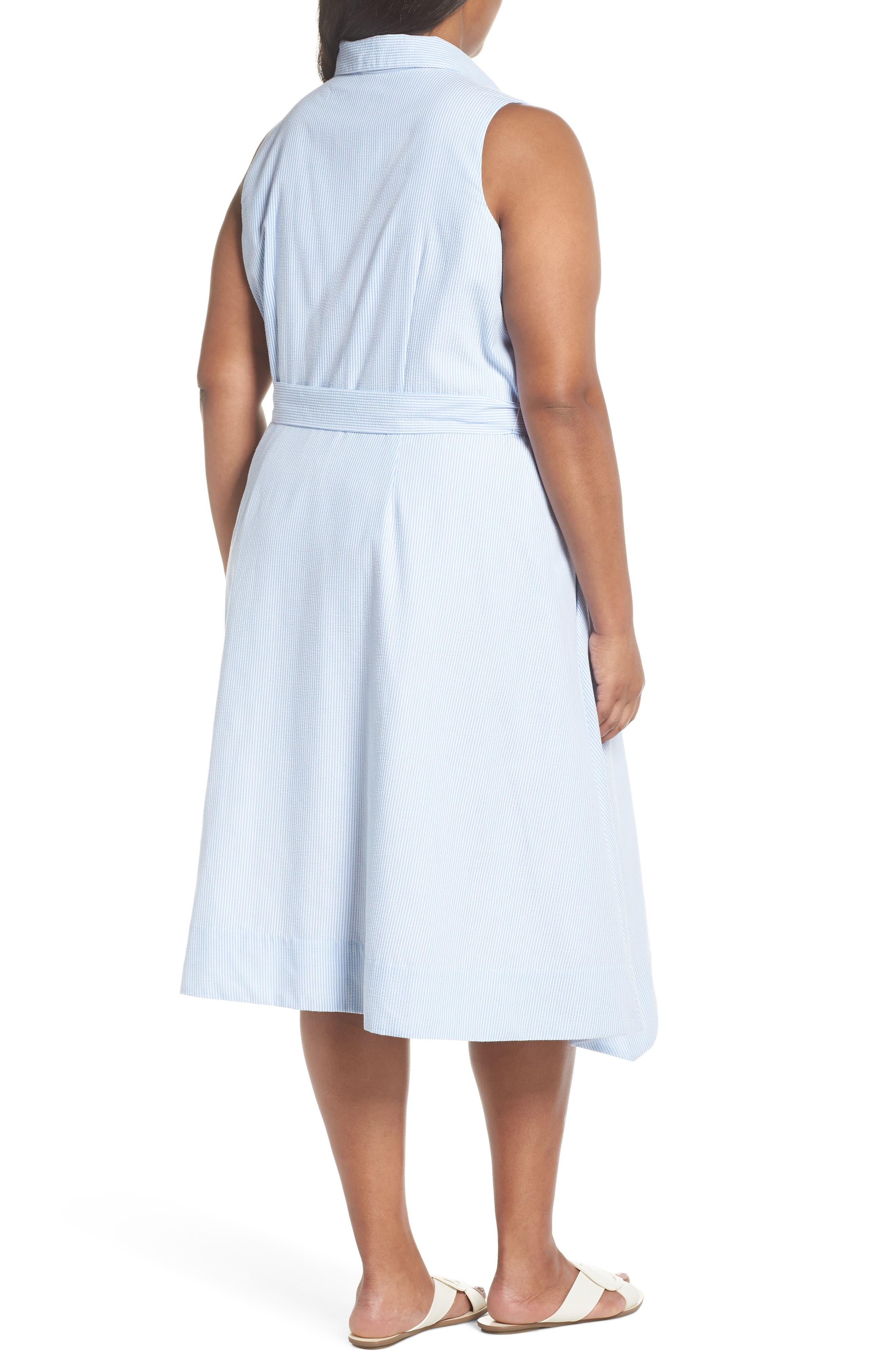 Sleeveless Stripe Seersucker Shirtdress,                             Alternate thumbnail 2, color,                             Blue/ White