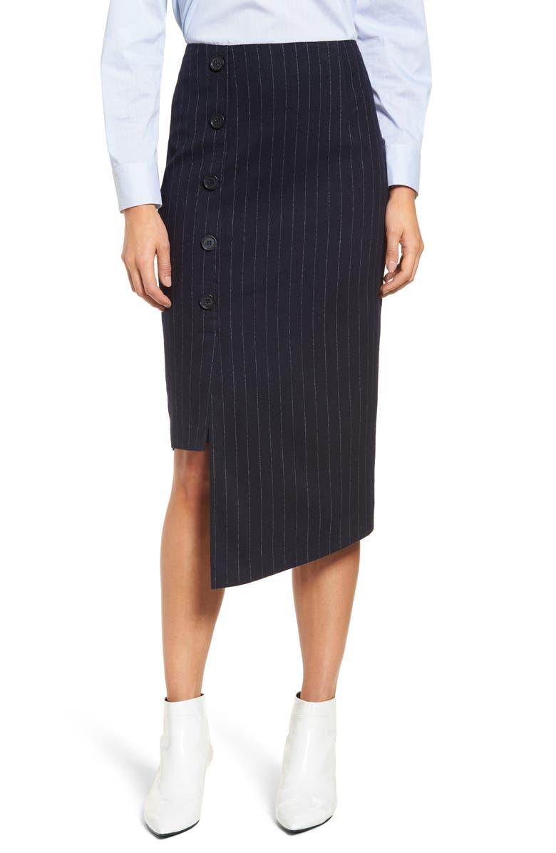 Button Detail Asymmetrical Skirt