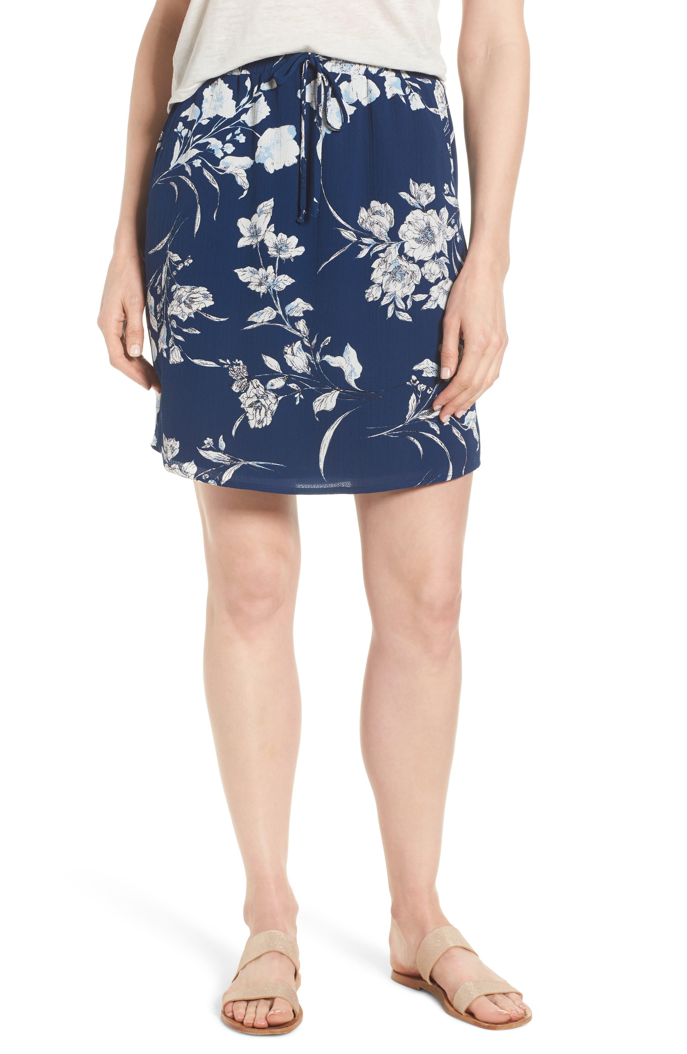 x Hi Sugarplum! Monterey Easy Skirt,                             Main thumbnail 1, color,                             Cool Breeze Floral