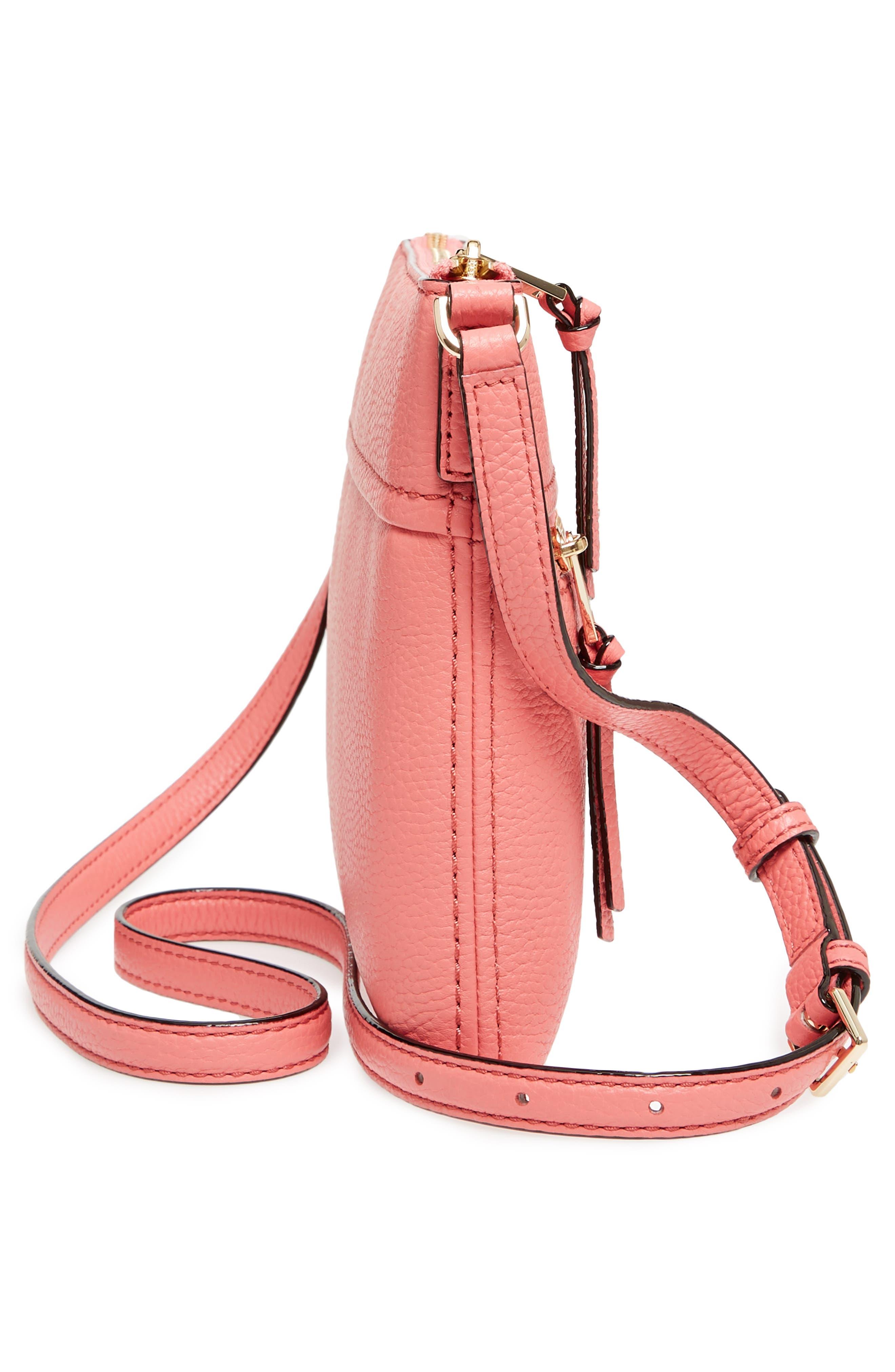 jackson street - gabriele leather crossbody bag,                             Alternate thumbnail 5, color,                             Coral Pebble