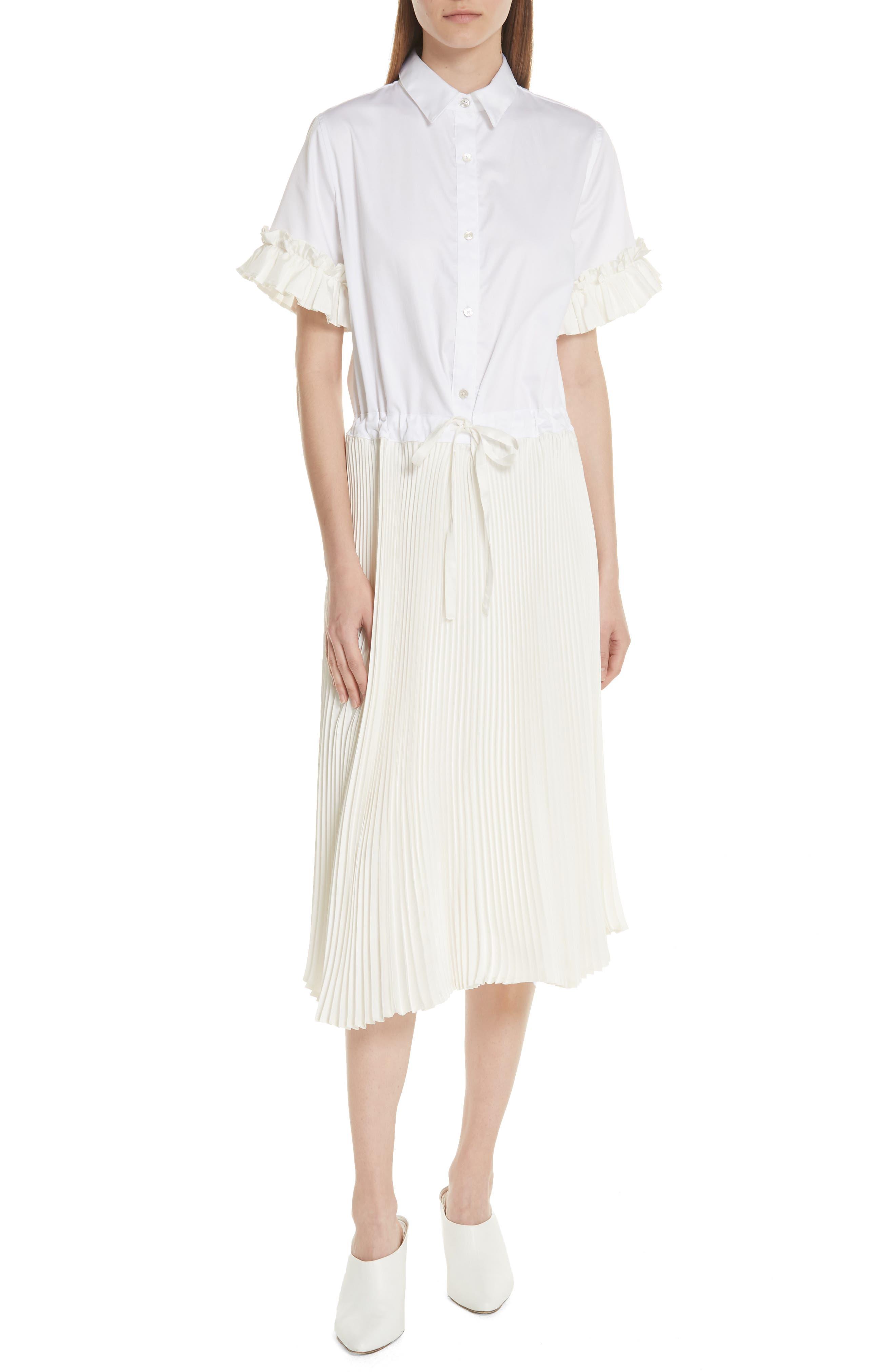 Pleat Midi Shirtdress,                             Main thumbnail 1, color,                             White