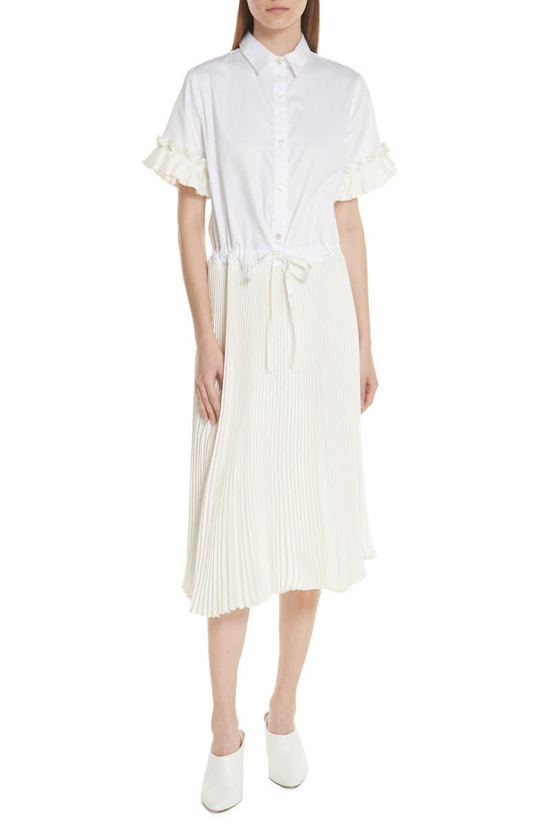 Pleat Midi Shirtdress