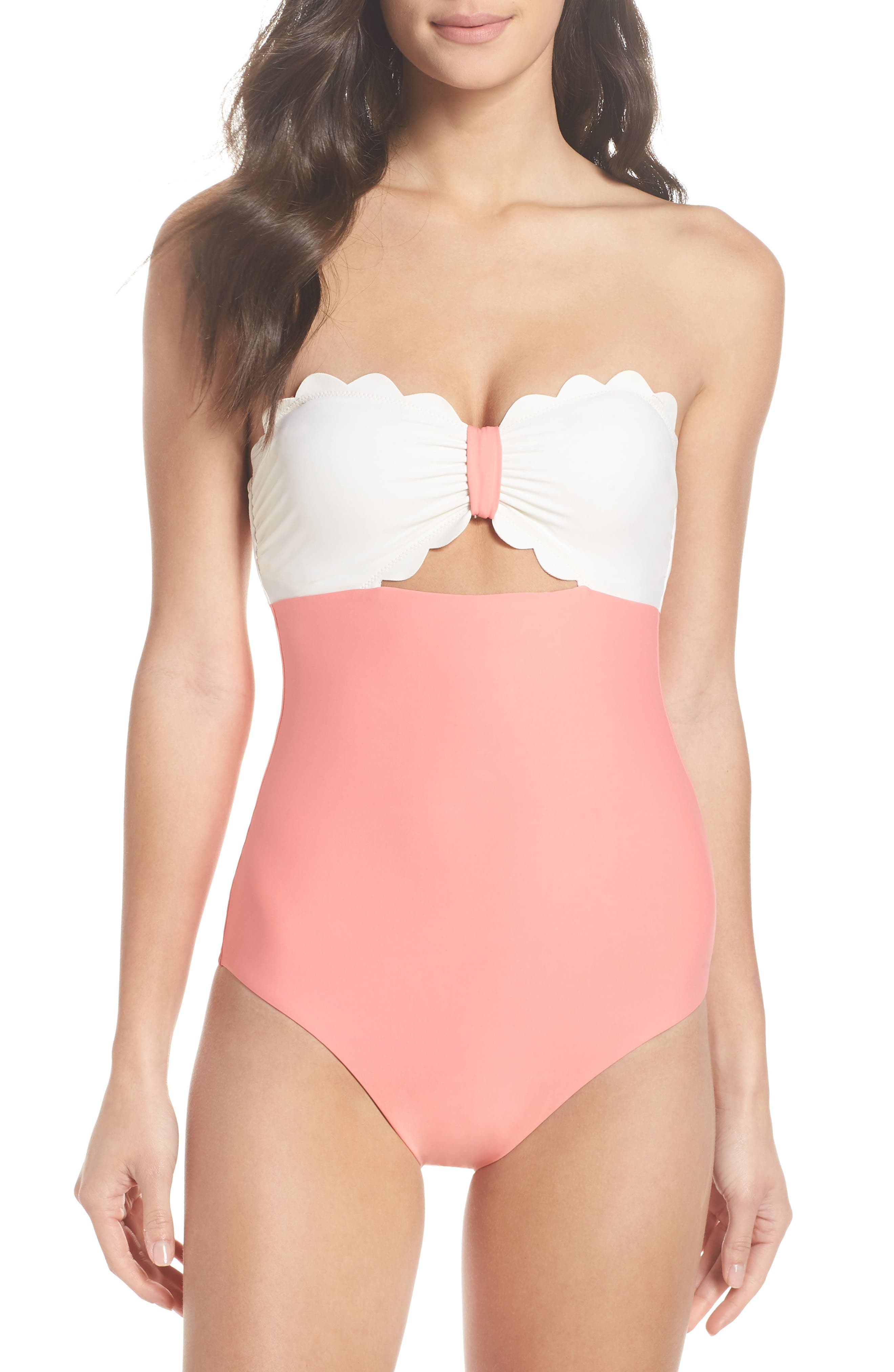 Scallop Bandeau One-Piece Swimsuit,                             Alternate thumbnail 2, color,                             Coral Shell / Ivory Egret