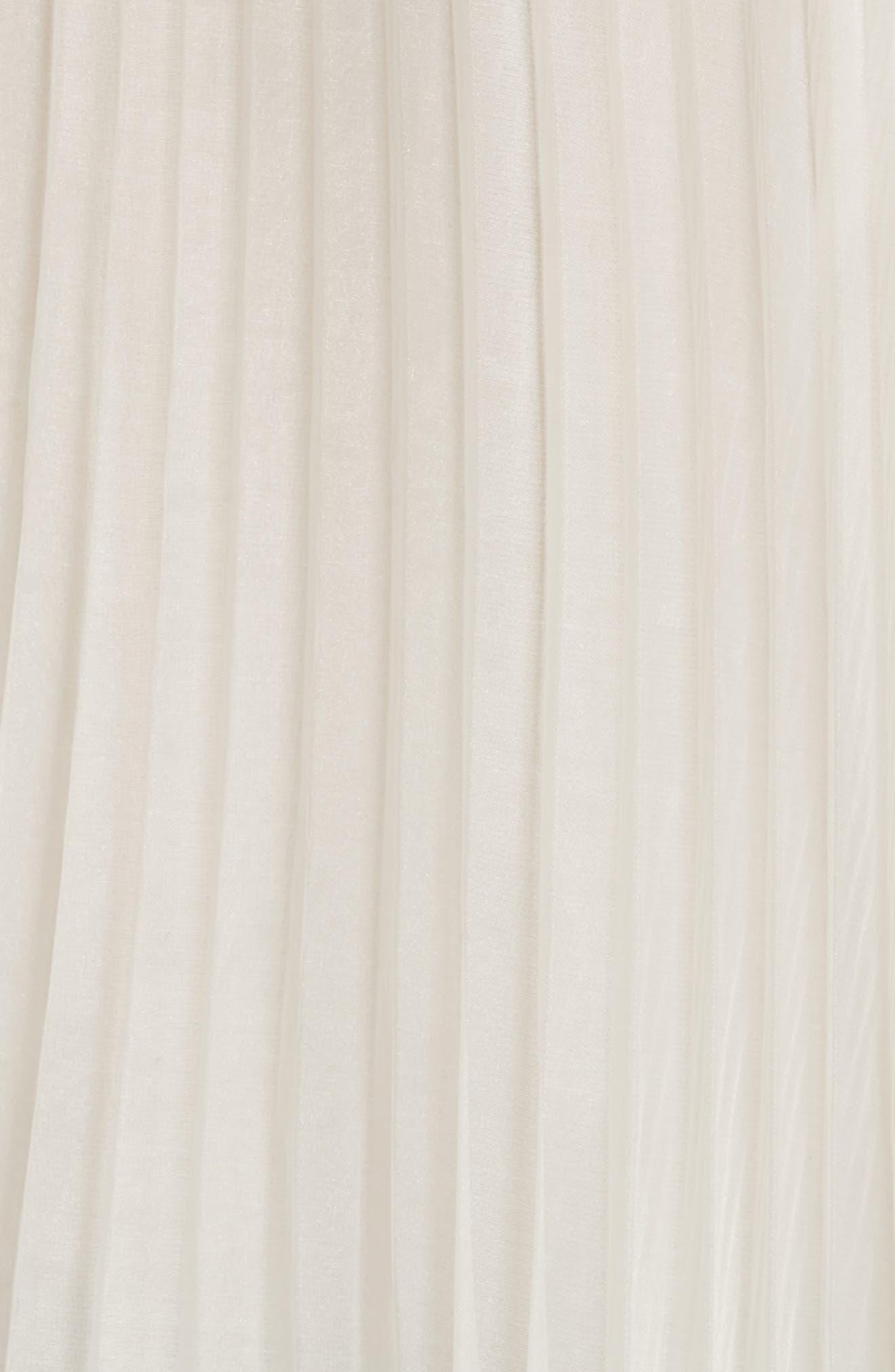 Lace Trim Pleat Back Top,                             Alternate thumbnail 4, color,                             White
