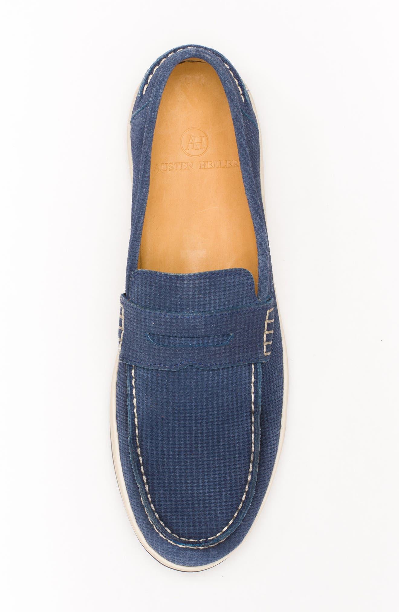 Bradford Embossed Penny Loafer Sneaker,                             Alternate thumbnail 4, color,                             Dark Indigo